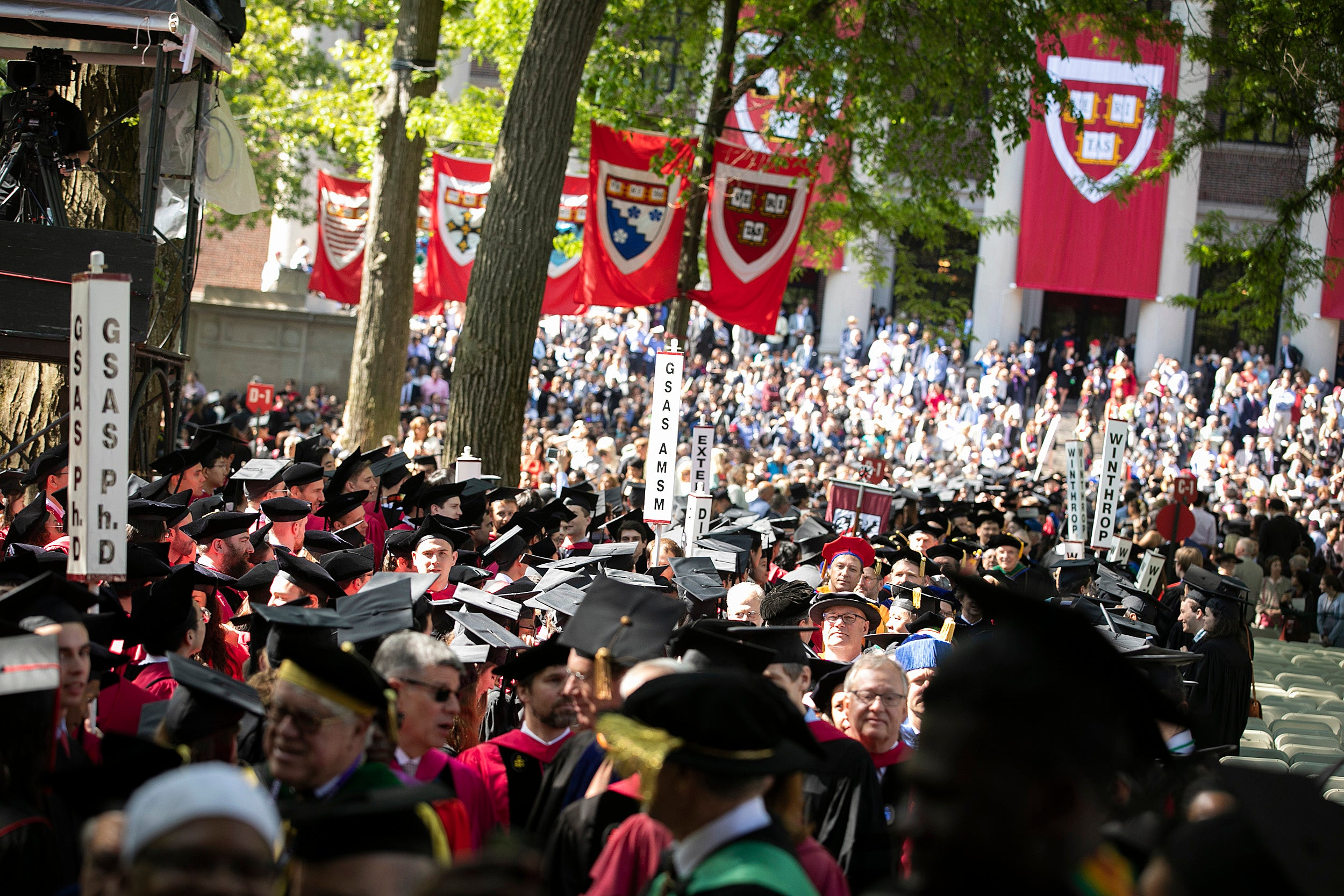 Sea of graduates in Harvard Yard.