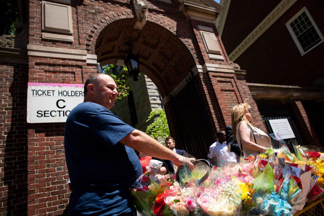 David Greenberg sells flowers outside Harvard Yard.