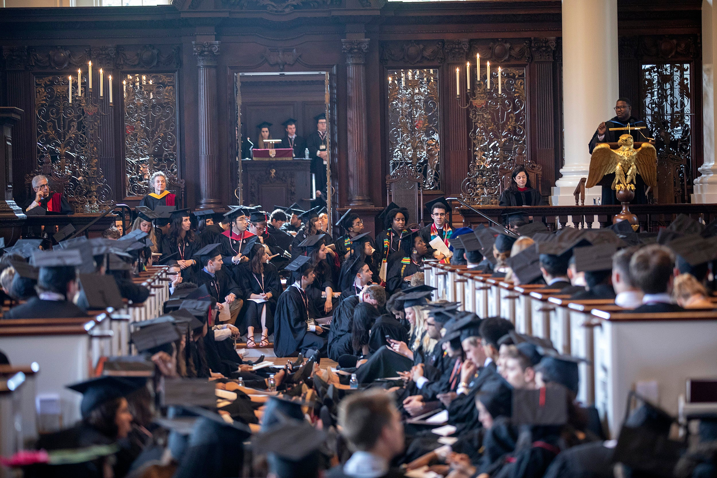 Memorial Church filled with graduates.