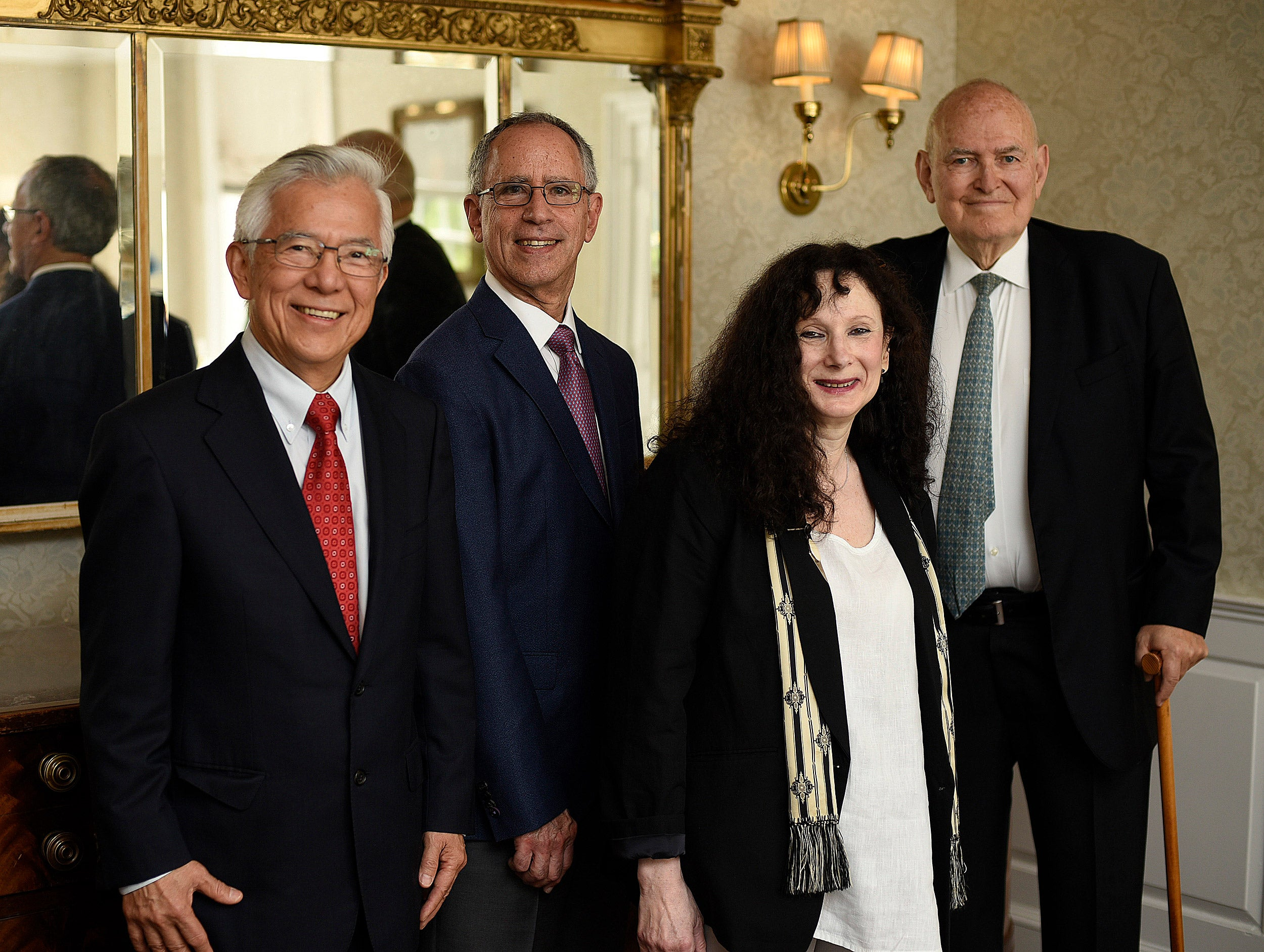 Choon Fong Shih (from left), Harold Luft, Beth Adelson, and Guido  Goldman are the recipients of Harvard's GSAS Centennial Medal.