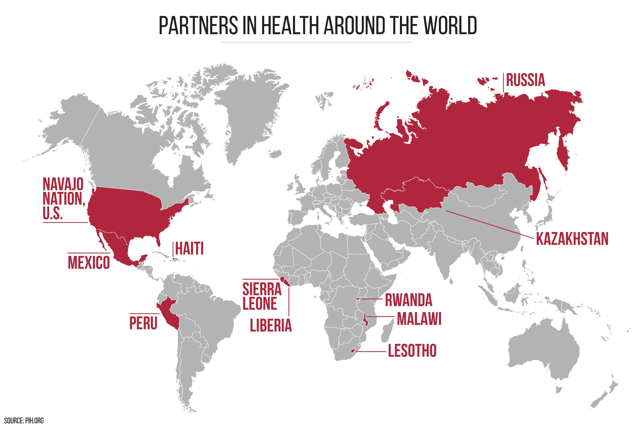 World map marking countries where Partners in Health has programs.