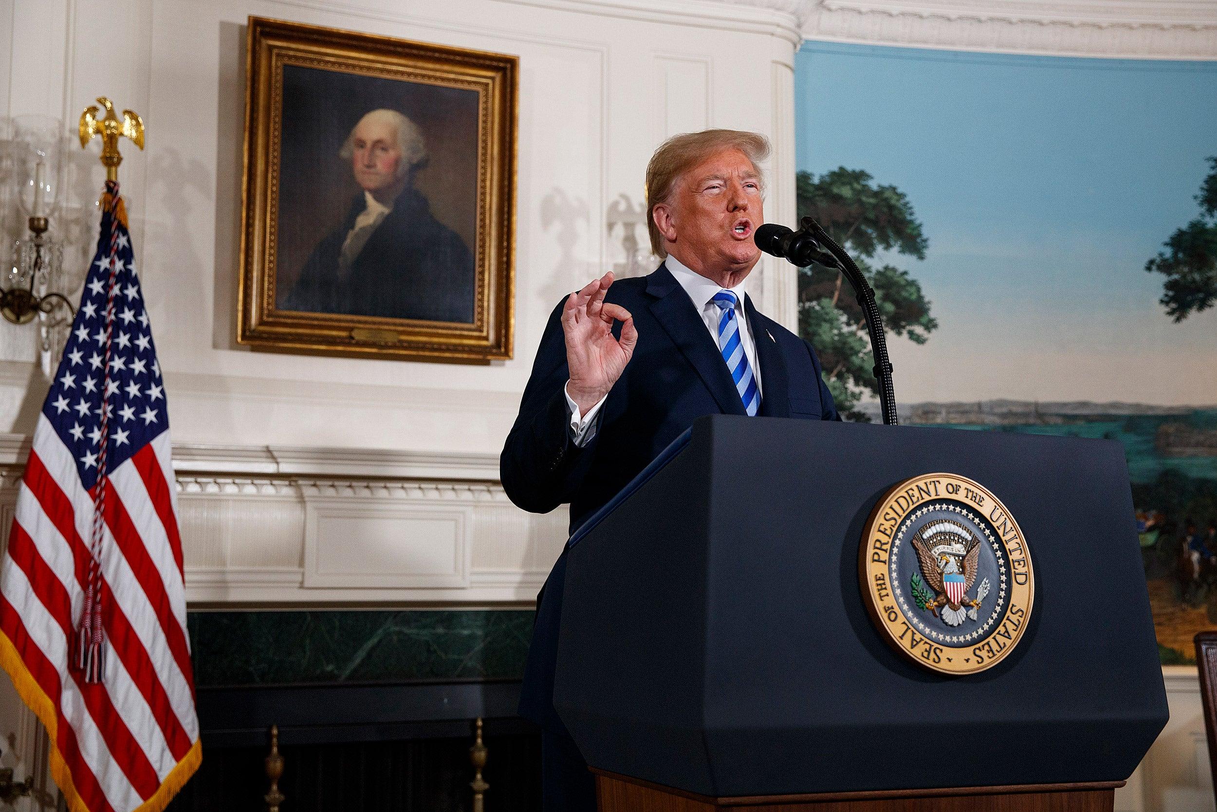 President Trump at podium.