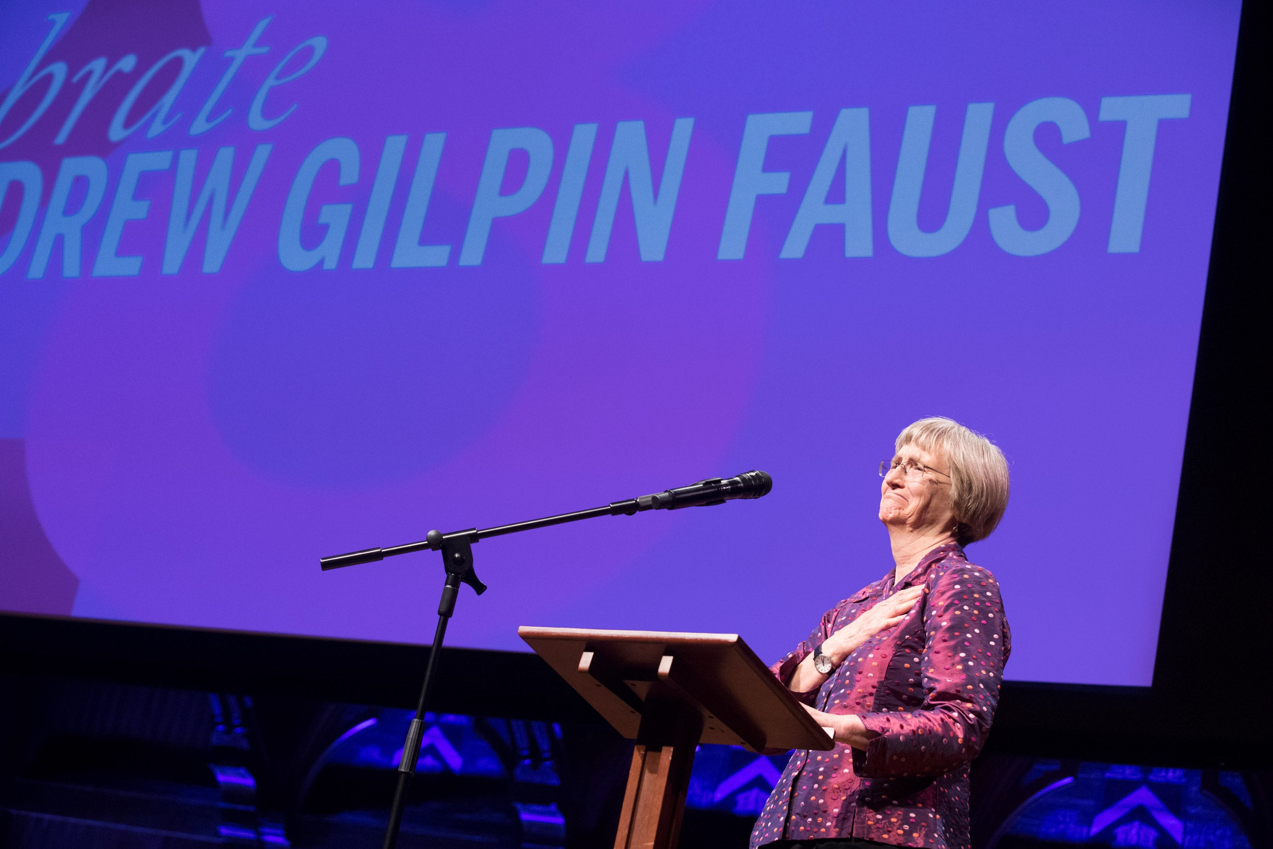 Drew Faust on stage.