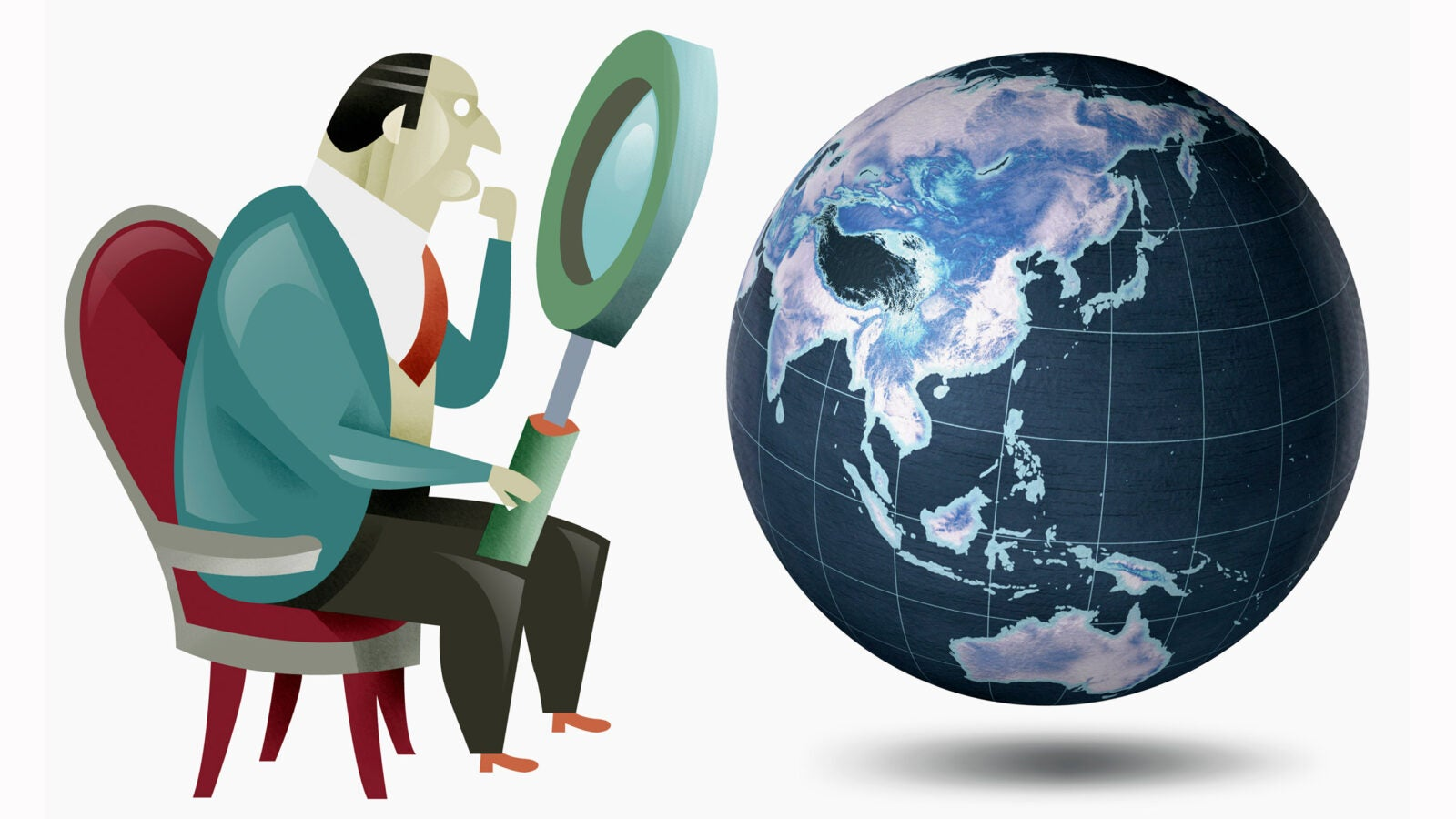 Man looking at globe with magnifying glass.