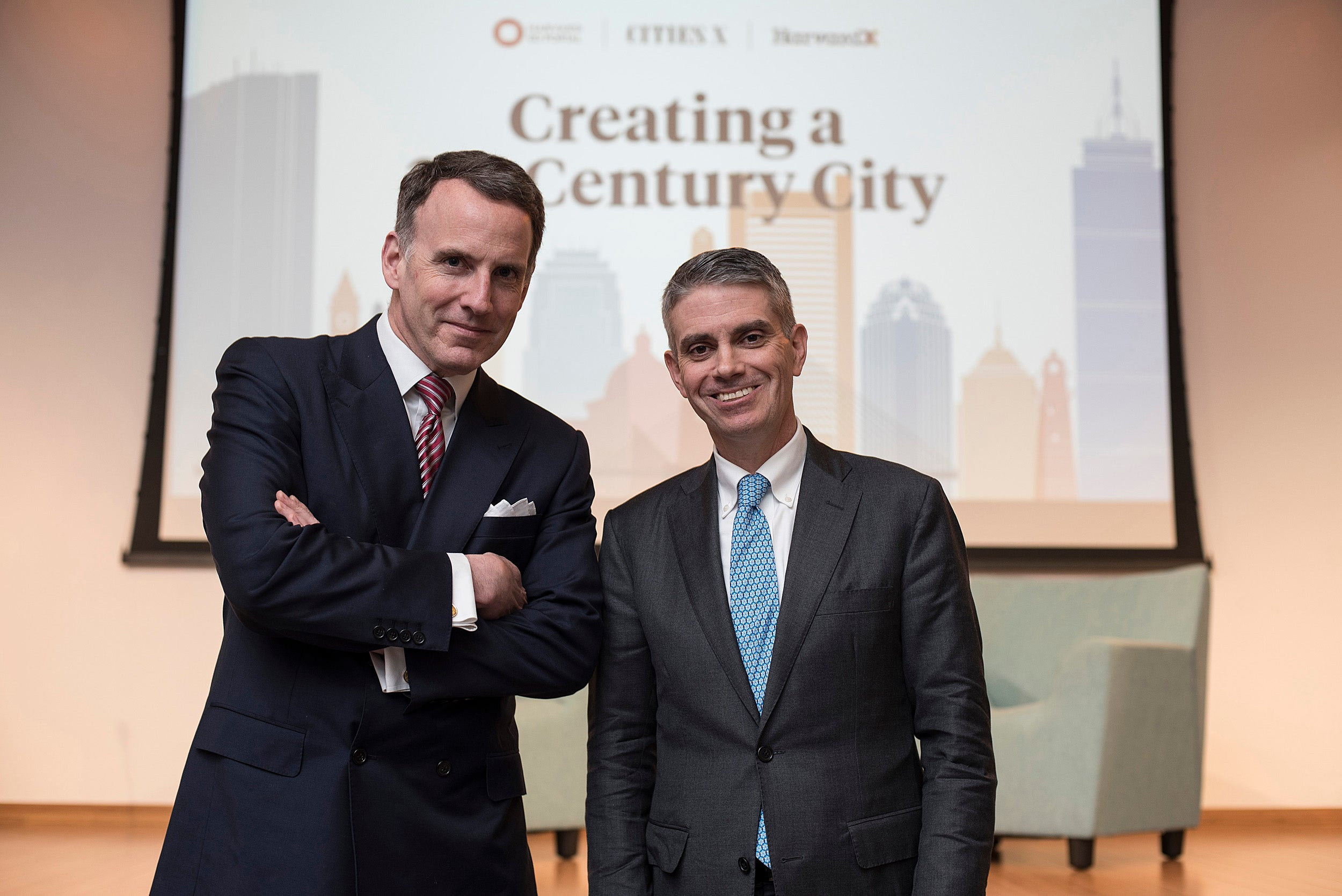 Professor Edward Glaeser (left) joined BPDA Director Brian Golden '87 at the Ed Portal for a discussion on the future of cities as humans increasingly become an urban species.