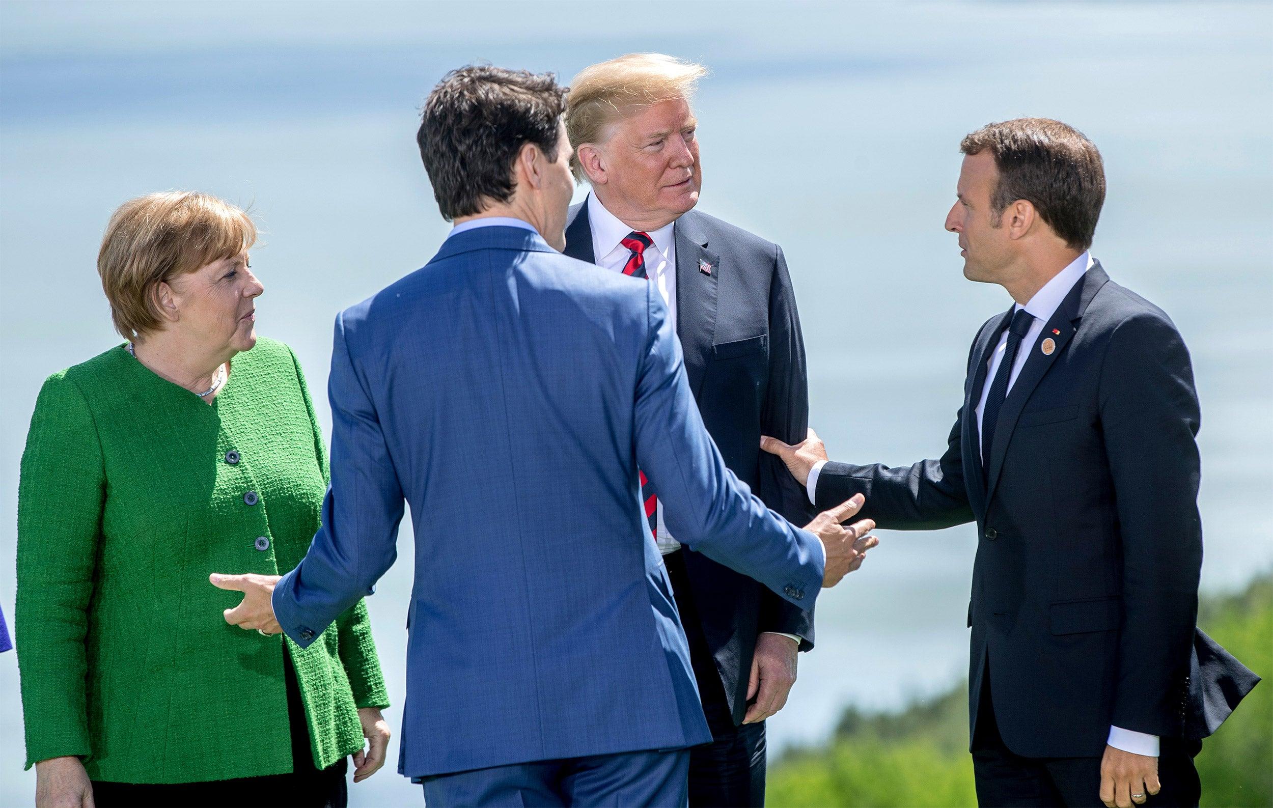 Angela Merkel, Justin Trudeau, Donald Trump, and Emmanuel Macron at the G7 summit.