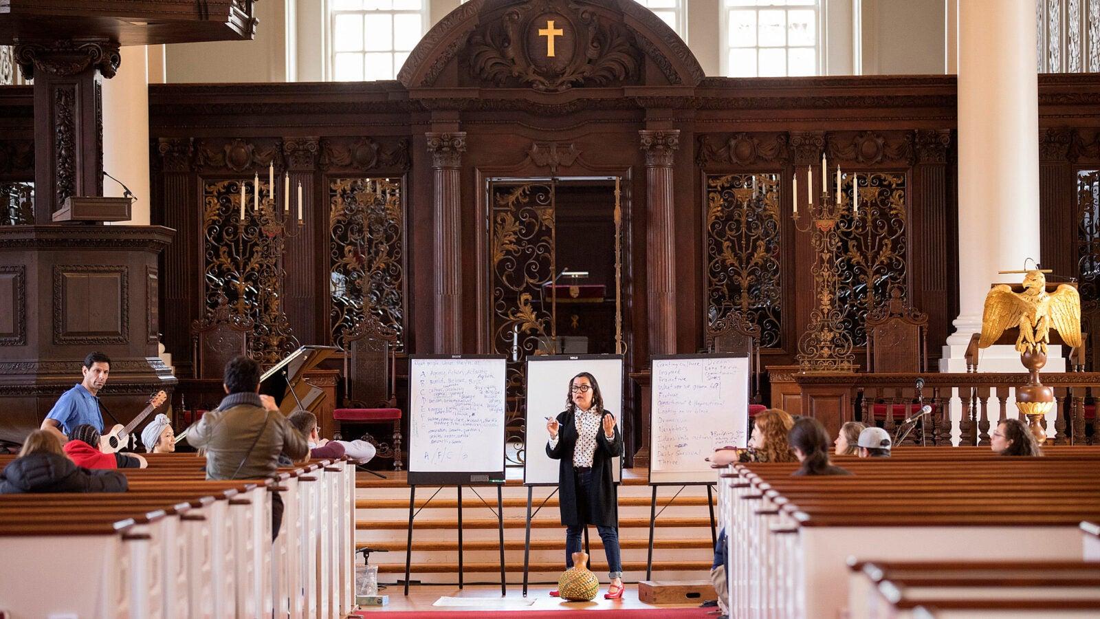 Martha Gonzalez leads a songwriting workshop at Memorial Church.