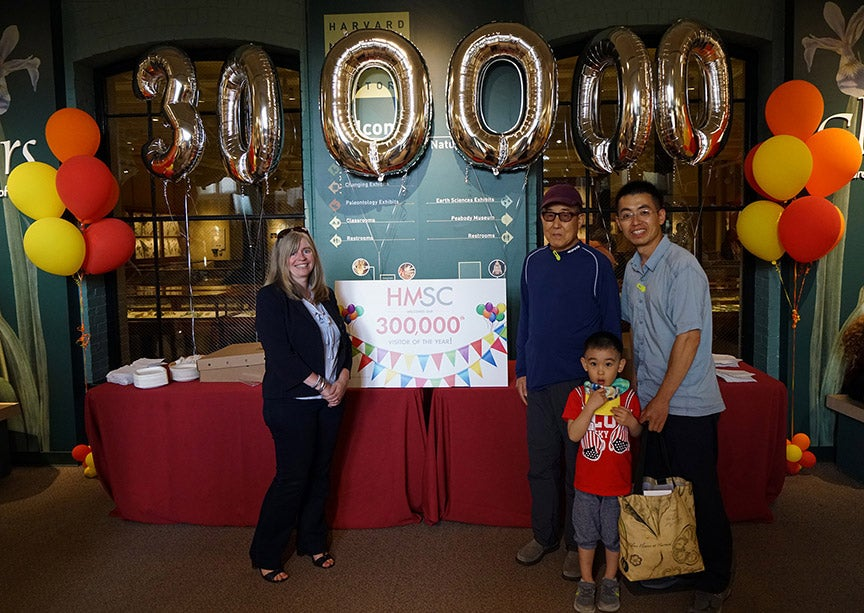 Dayu Huang was feted as the 300,000th visitor (since July 1, 2017) at the Harvard Museums of Science & Culture. Courtesy of the HMSC