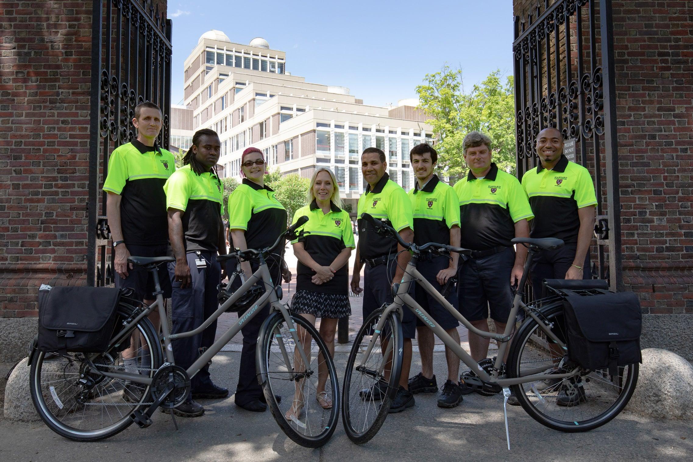 Harvard's parking monitors can now patrol campus via bicycles.