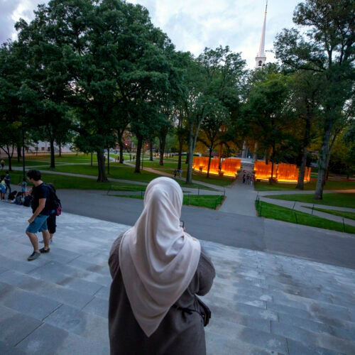 "From the steps of Widener Library, a woman photographs ""Autumn (... Nothing Personal),"" a public sculpture by artist Teresita Fernández recently installed in Harvard Yard at Tercentenary Theatre."