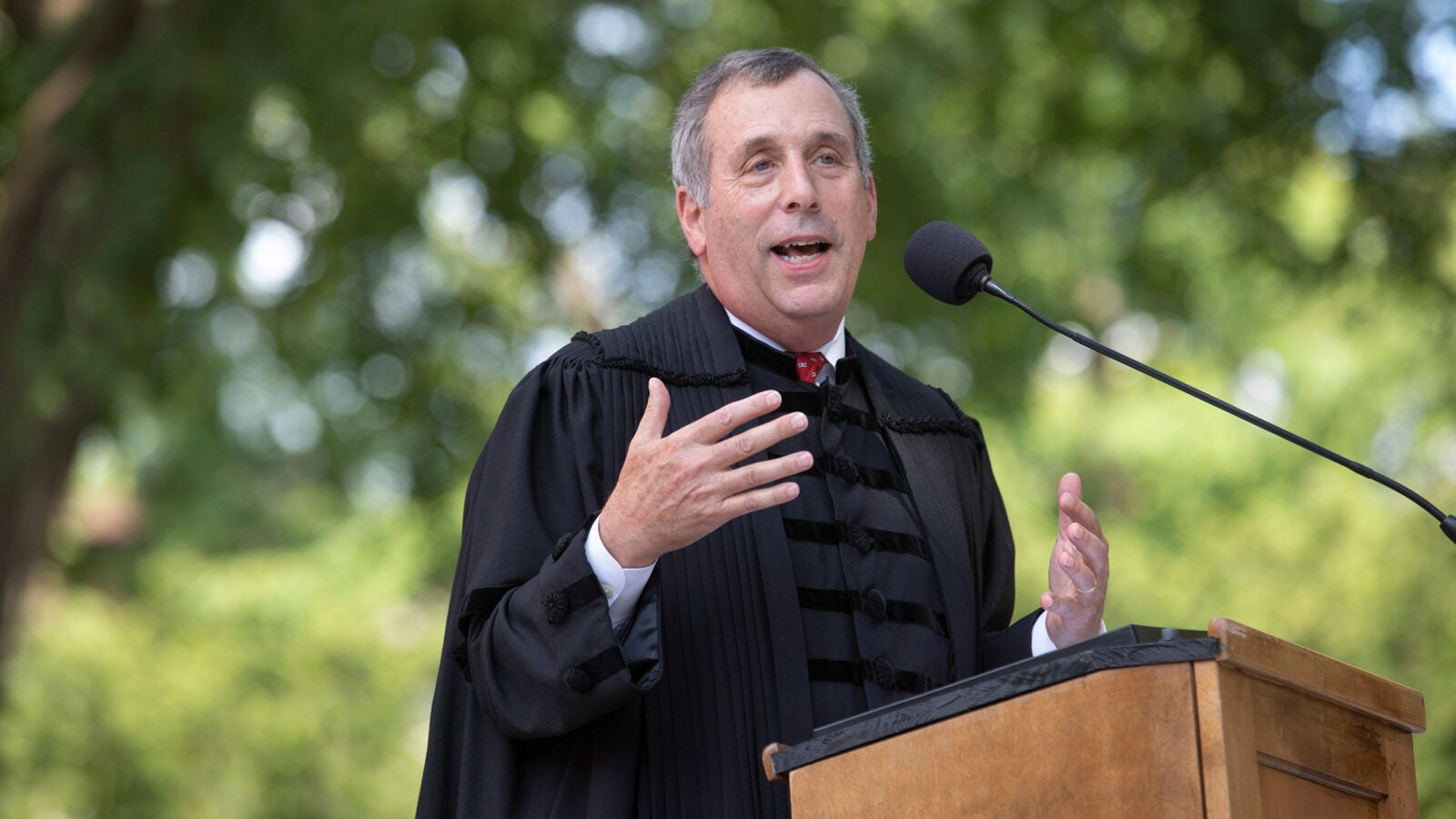 """""""Like you, I've recently moved into Harvard Yard,"""" President Larry Bacow told first-year students at Monday's convocation. """"Like you, I've arrived here in the hope that I can make a unique contribution."""""""