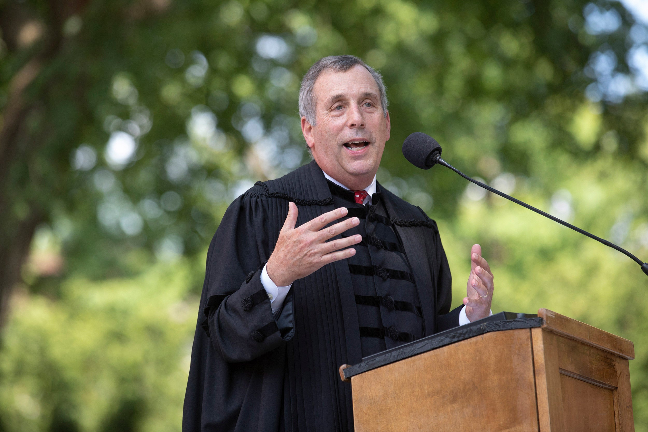 """Like you, I've recently moved into Harvard Yard,"" President Larry Bacow told first-year students at Monday's convocation. ""Like you, I've arrived here in the hope that I can make a unique contribution."""