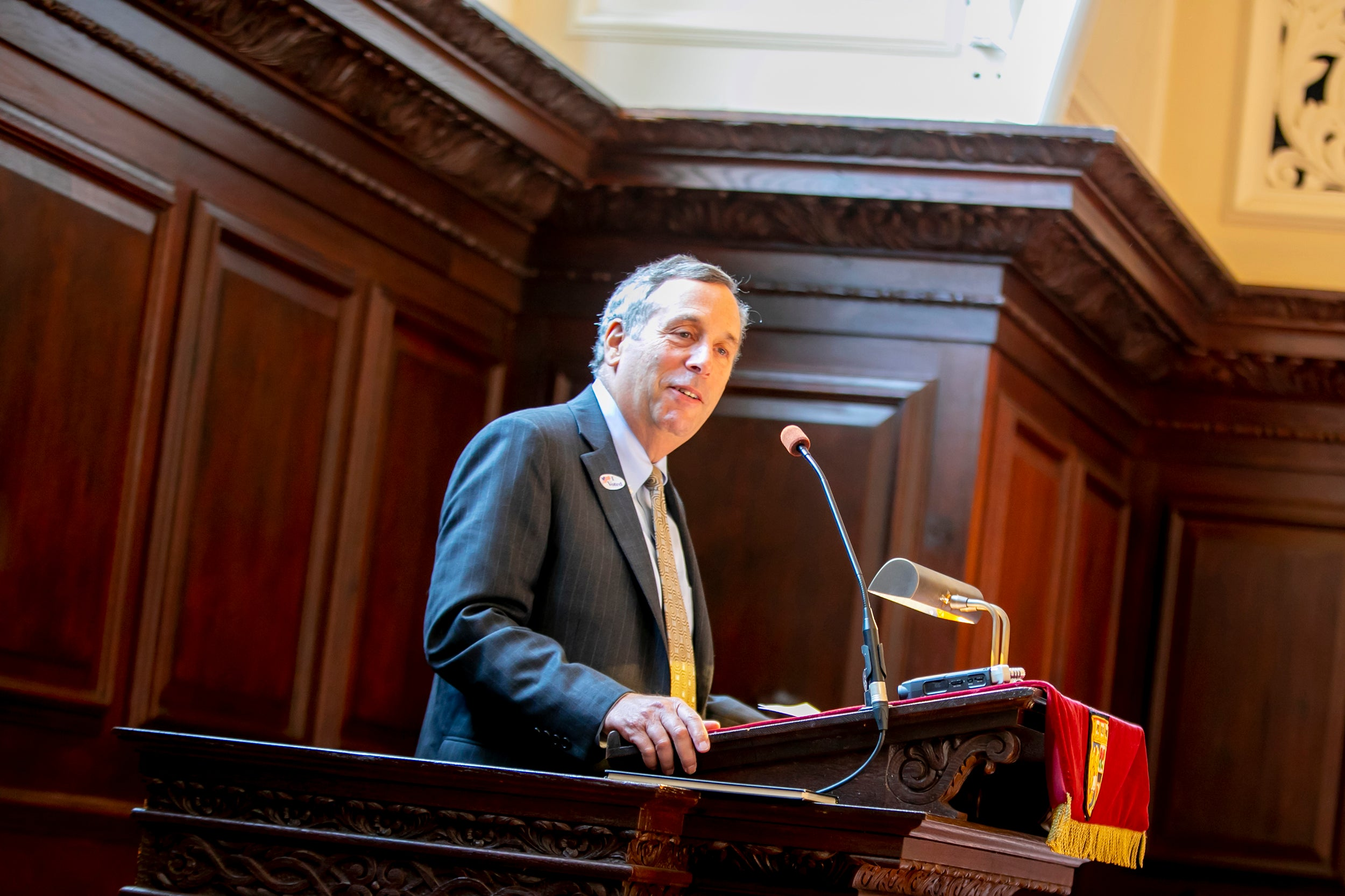 Contemplation and reflection were themes of Harvard President Larry Bacow's remarks at Morning Prayers at Memorial Church.