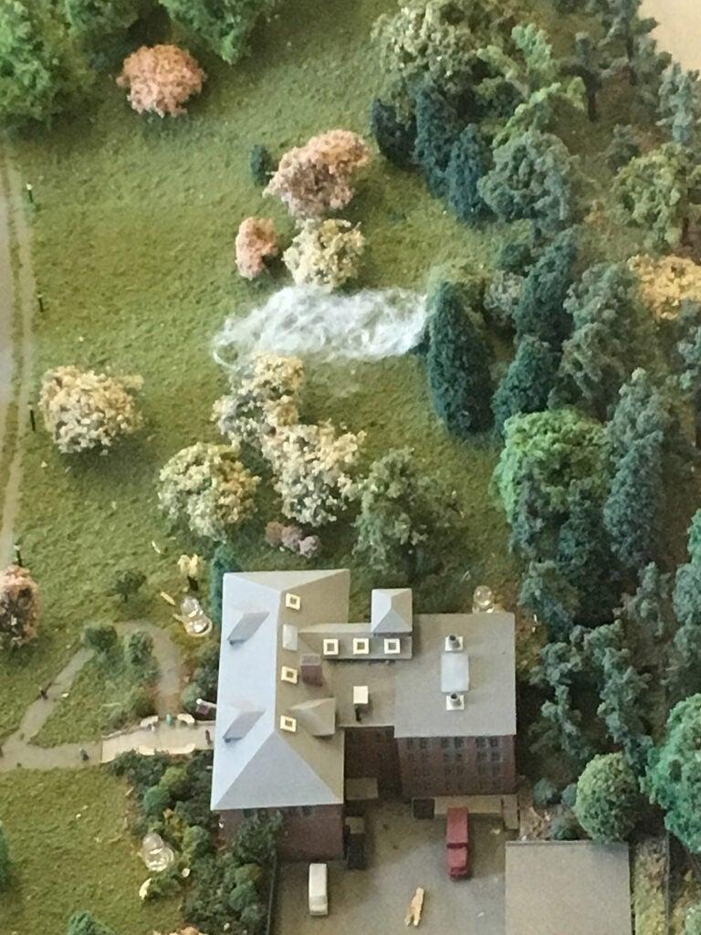 Detail of Arnold Arboretum diorama shows Fog x Hill art installation.