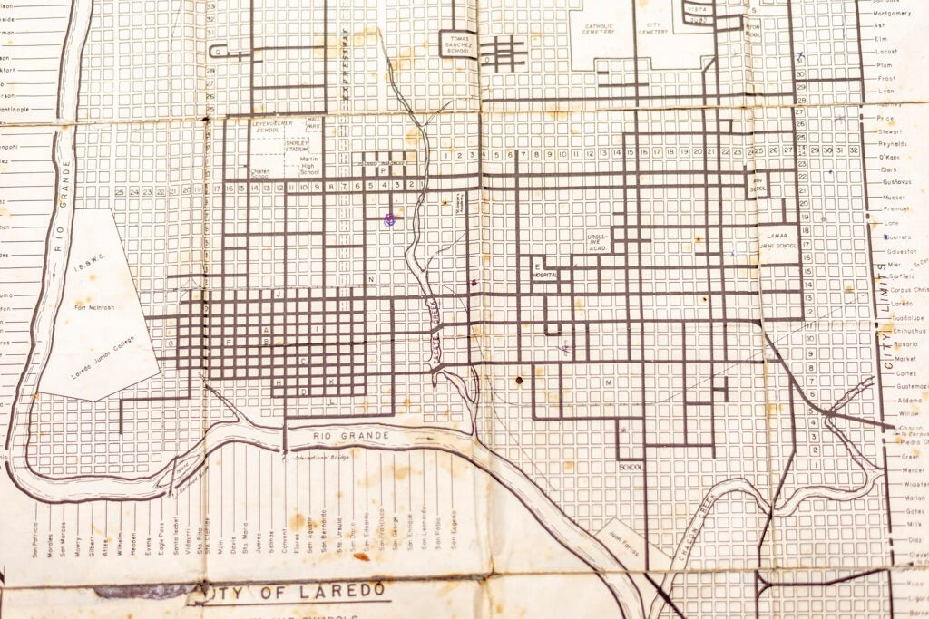 Archival map of Laredo, Texas.