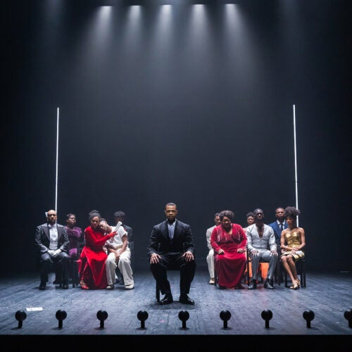 """The cast of """"The Black Clown"""" at American Repertory Theater."""