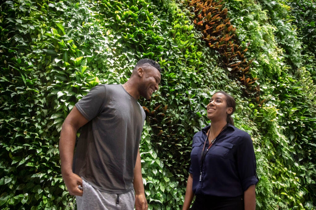 Former Harvard men's basketball player, Zena Edosomwan '17 and Tiana Woolridge, PhD candidate.
