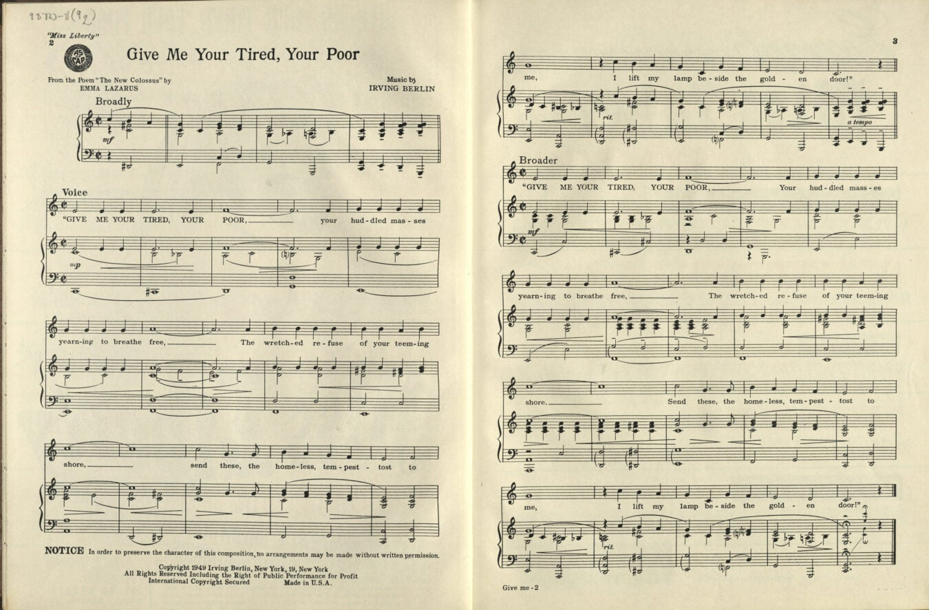 """Give Me Your Tired, Your Poor"" by Irving Berlin, 1949."