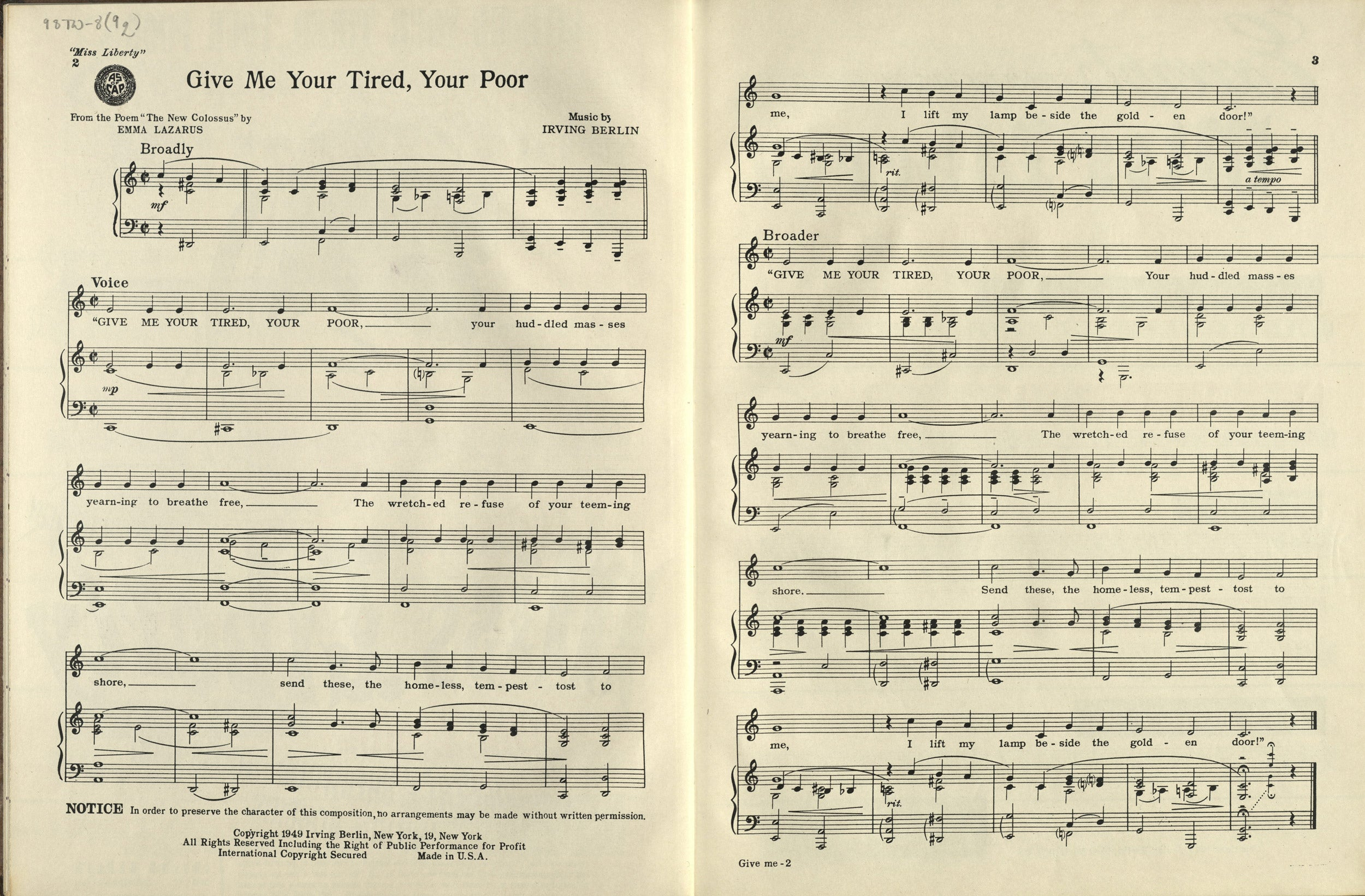 """""""Give Me Your Tired, Your Poor"""" by Irving Berlin, 1949."""