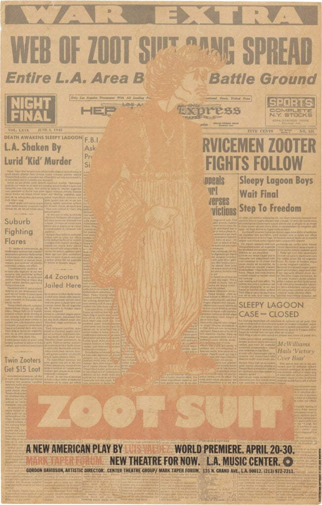 "Luis Valdez's pioneering Chicano play ""Zoot Suit"" (1978) poster"