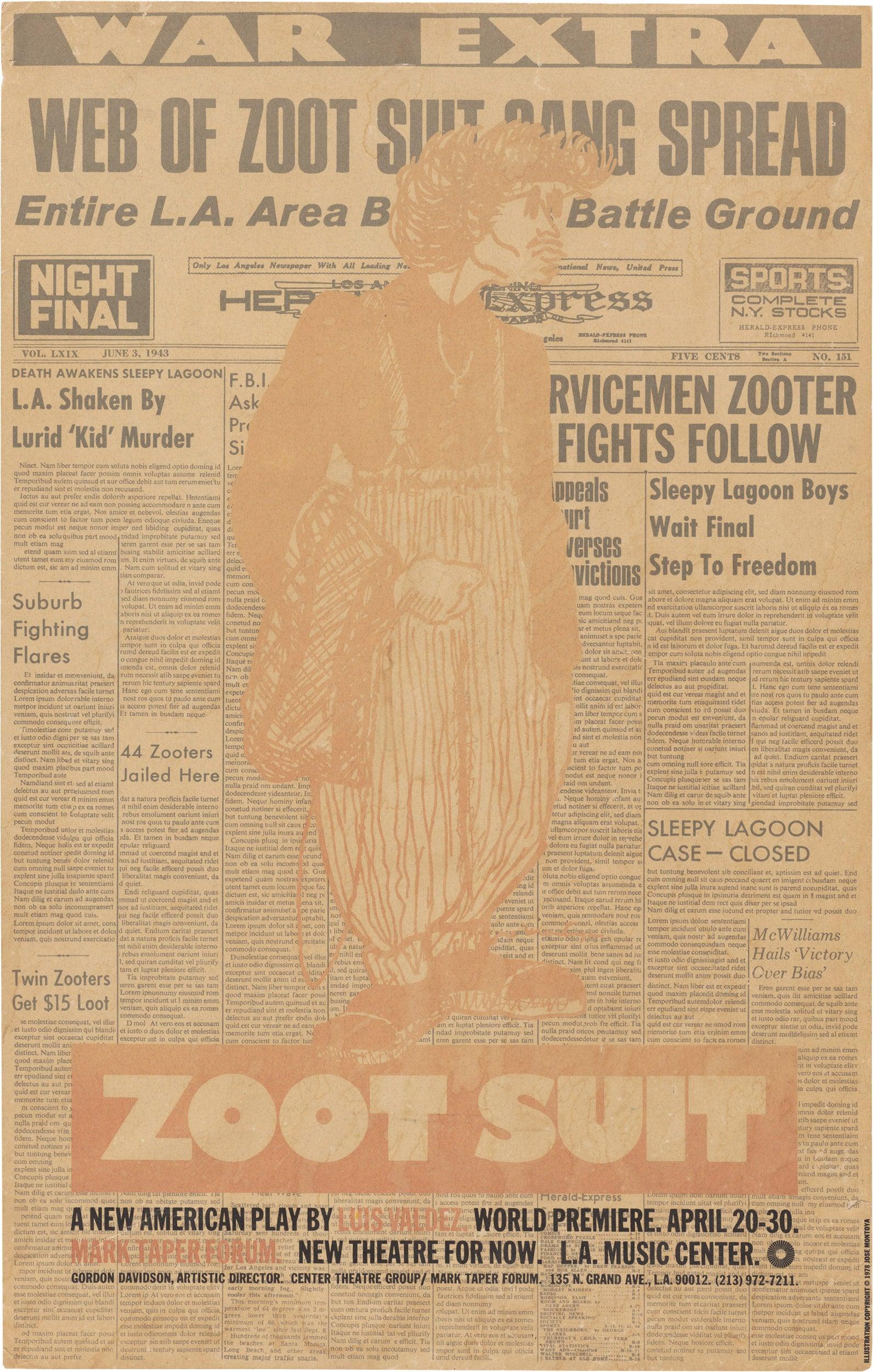 "Luis Valdez's pioneering Chicano play ""Zoot Suit"" (1978) poster"