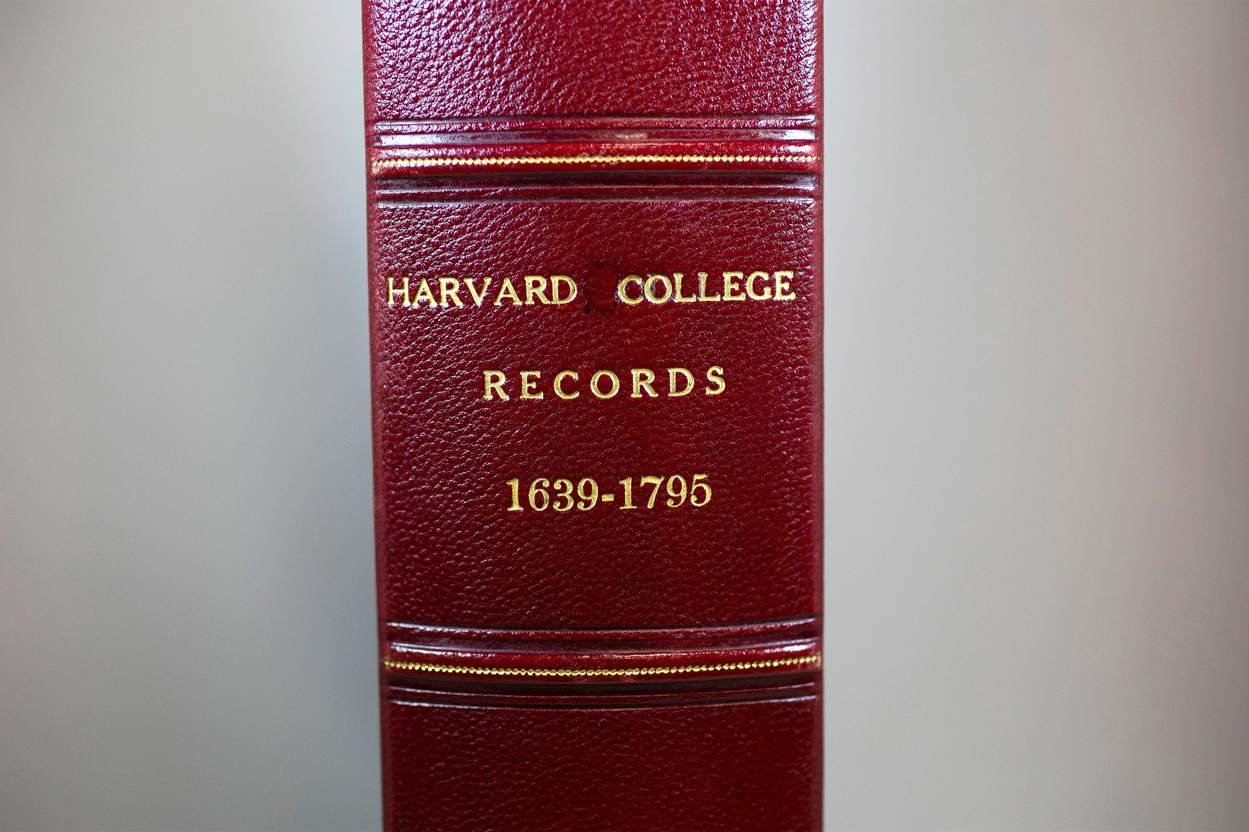 The University Archives in Pusey Library will display items presented to President Larry Bacow during his installation. The viewing is from 4:30 to 6 p.m. Friday and includes the oldest surviving record book, the College Book 1.