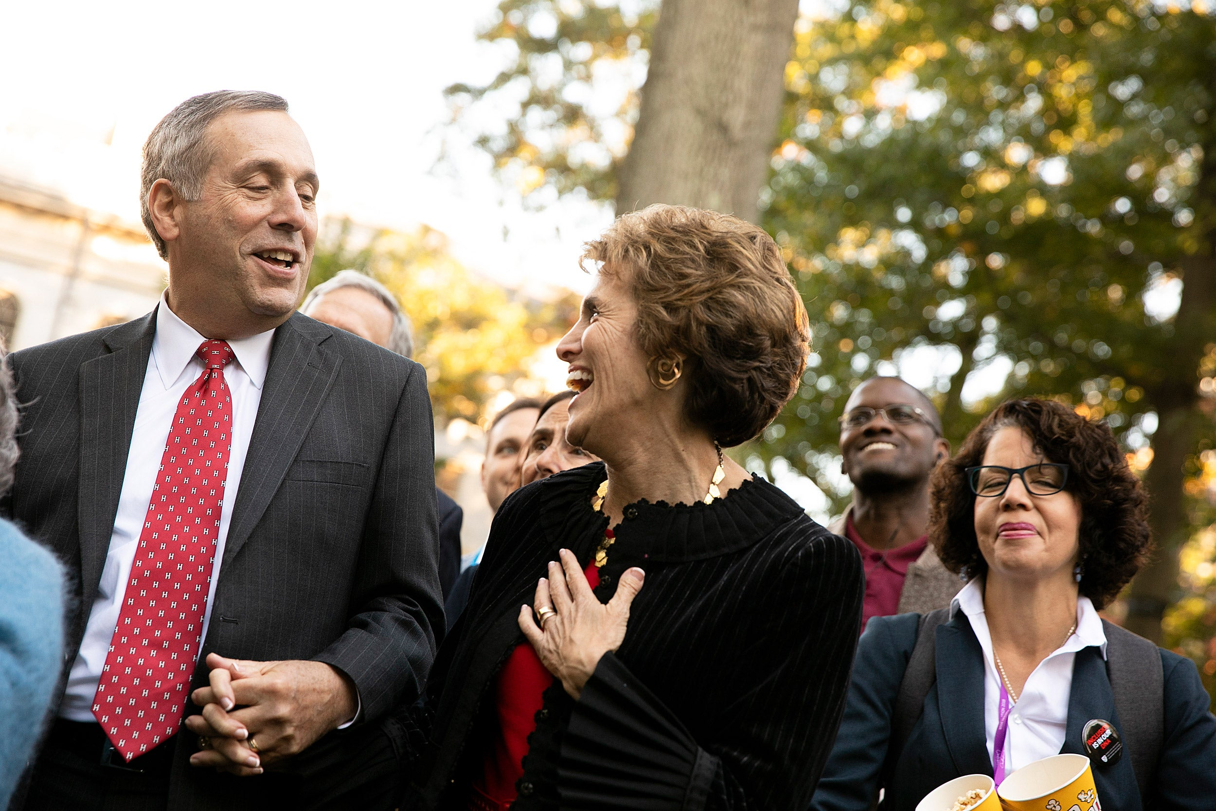 Larry Bacow dances with wife, Adele, after his inauguration as Harvard's 29th president.