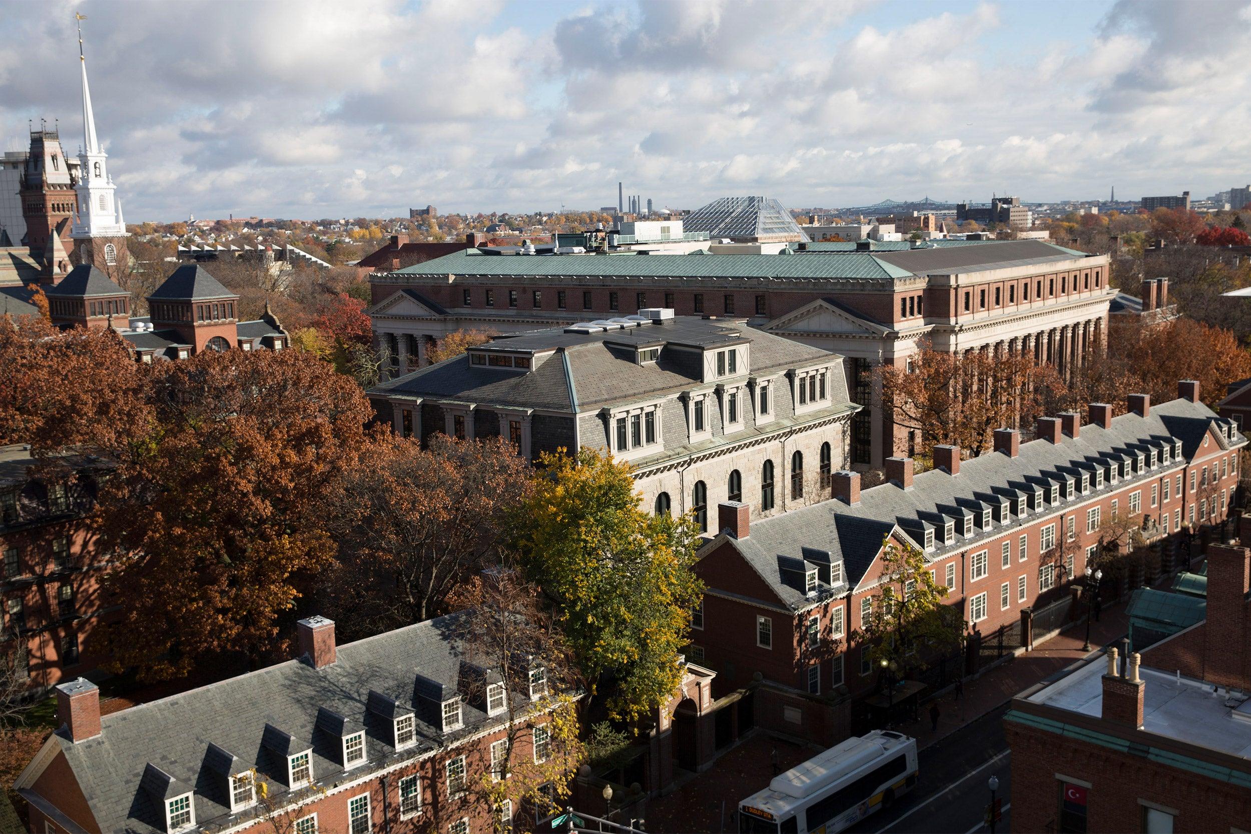 Overviews of Harvard Yard Memorial Church, Memorial Hall and Widener Library.