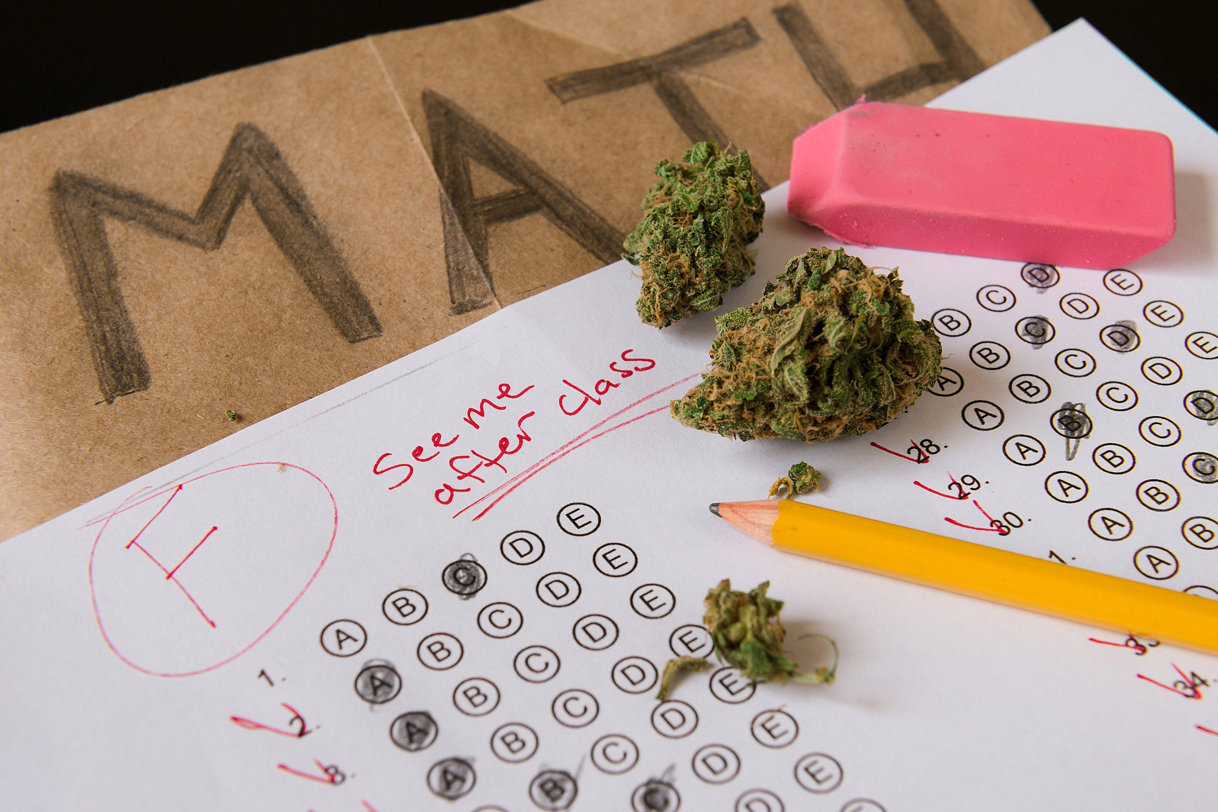 Cannabis on a failed test paper