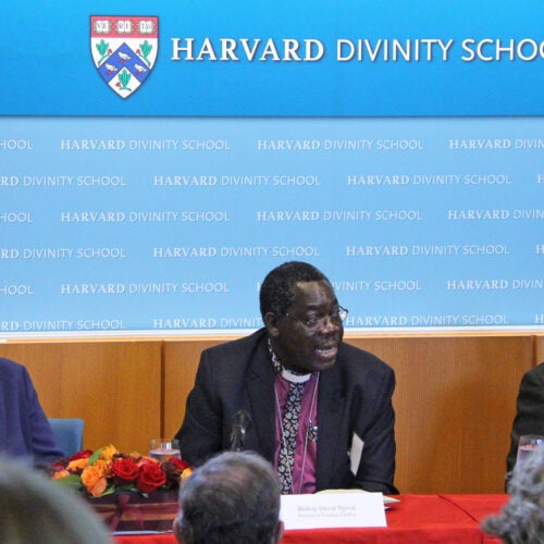 """""""We don't go there to condemn a traditional healer, because as soon as you do that, you create a gap,"""" said Anglican Bishop David Njovu of Zambia (center) in describing his approach, which includes education and acknowledging the role of faith. Panelists Professor Dyann Wirth and Bishop André Soares are also pictured."""