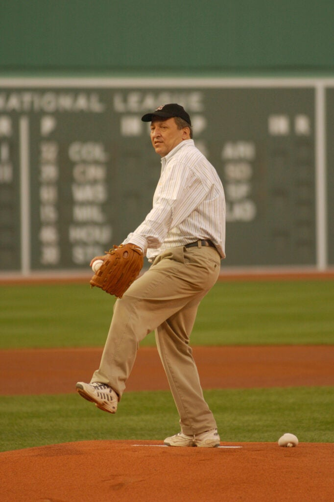 Harvard President Lawrence H. Summers throws out the first pitch.
