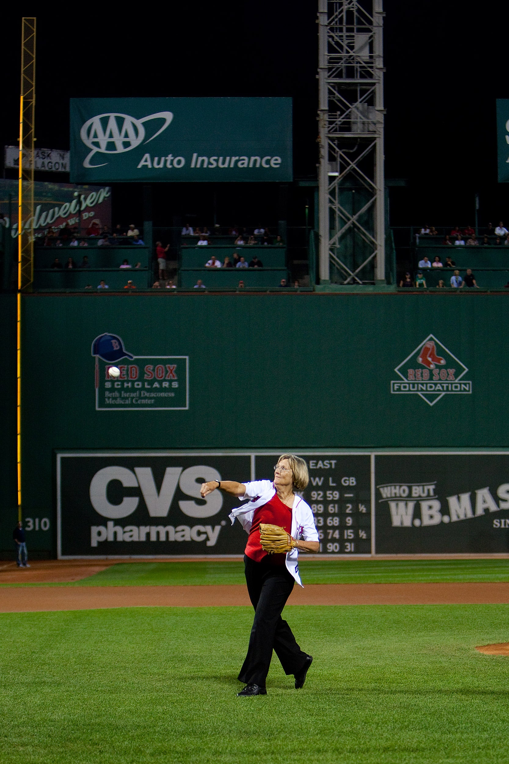 Harvard President Drew Faust throws first pitch at Fenway.