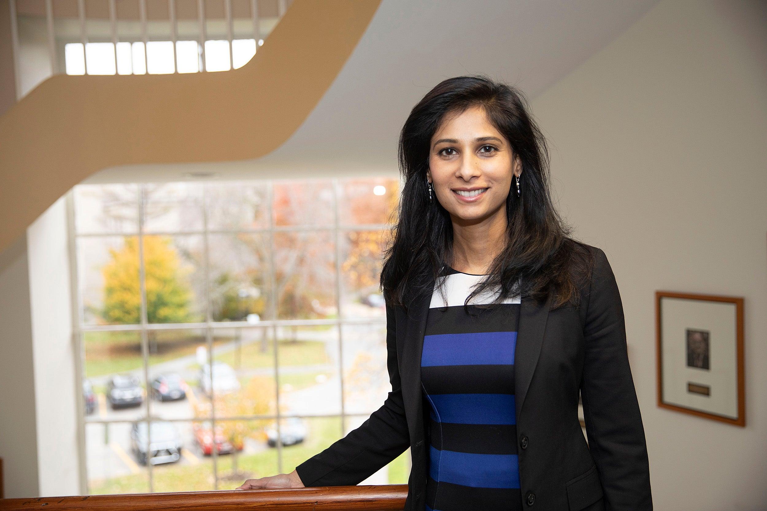 Gita Gopinath in her Littauer Building office at Harvard.