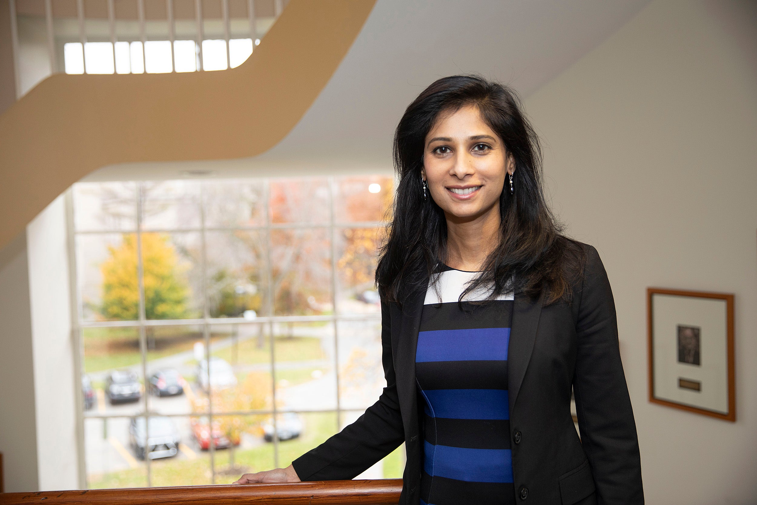 Gita Gopinath in her Littauer Building office at Harvard.