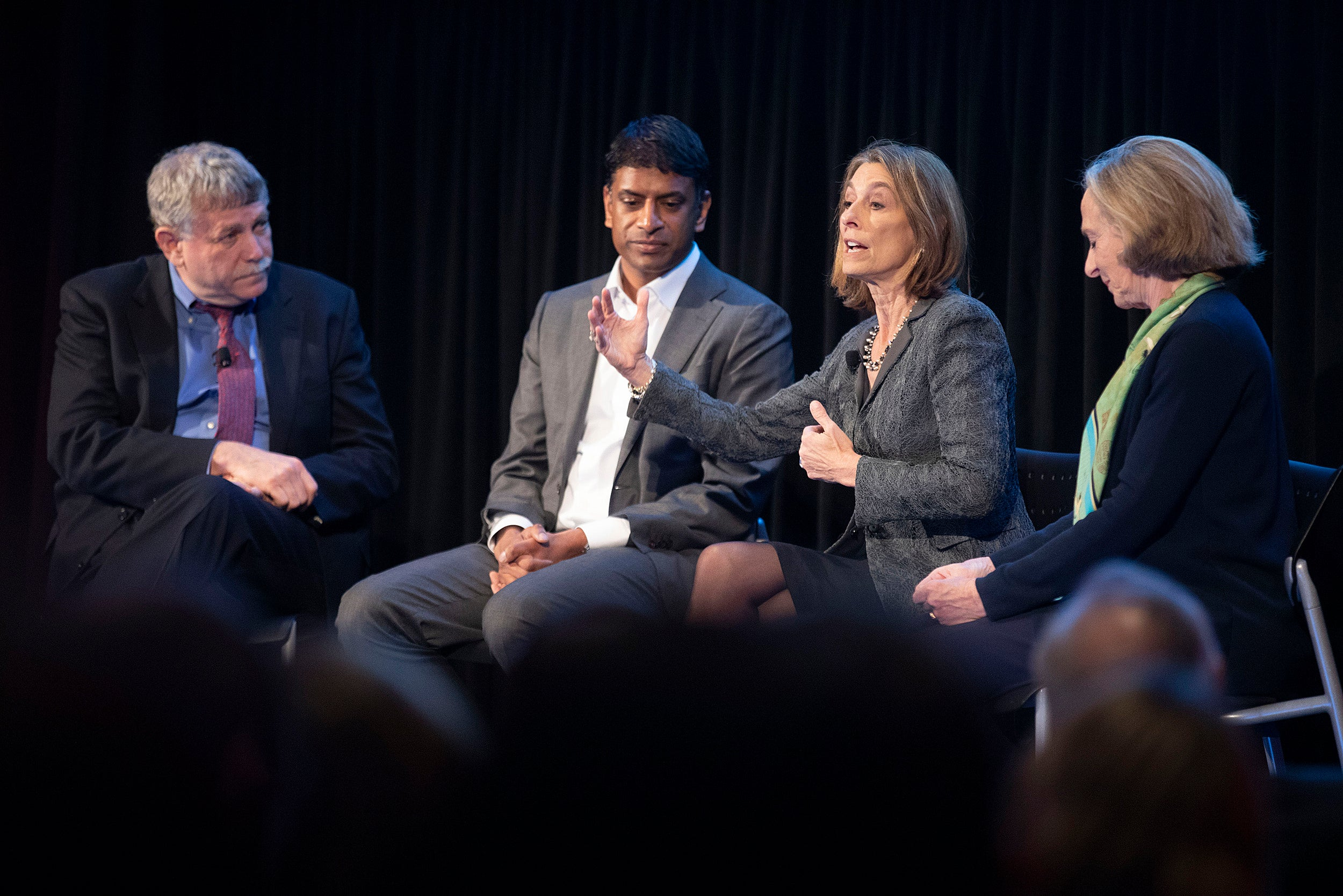 Eric Lander, (from left) President and Founding Director, Broad Institute, Vasant Narasimhan, Chief Executive Officer, Novartis, Laurie Glimcher, President and CEO, Dana-Farber Cancer Institute, Susan Hockfield, President Emerita and Professor of Neuroscience, MIT