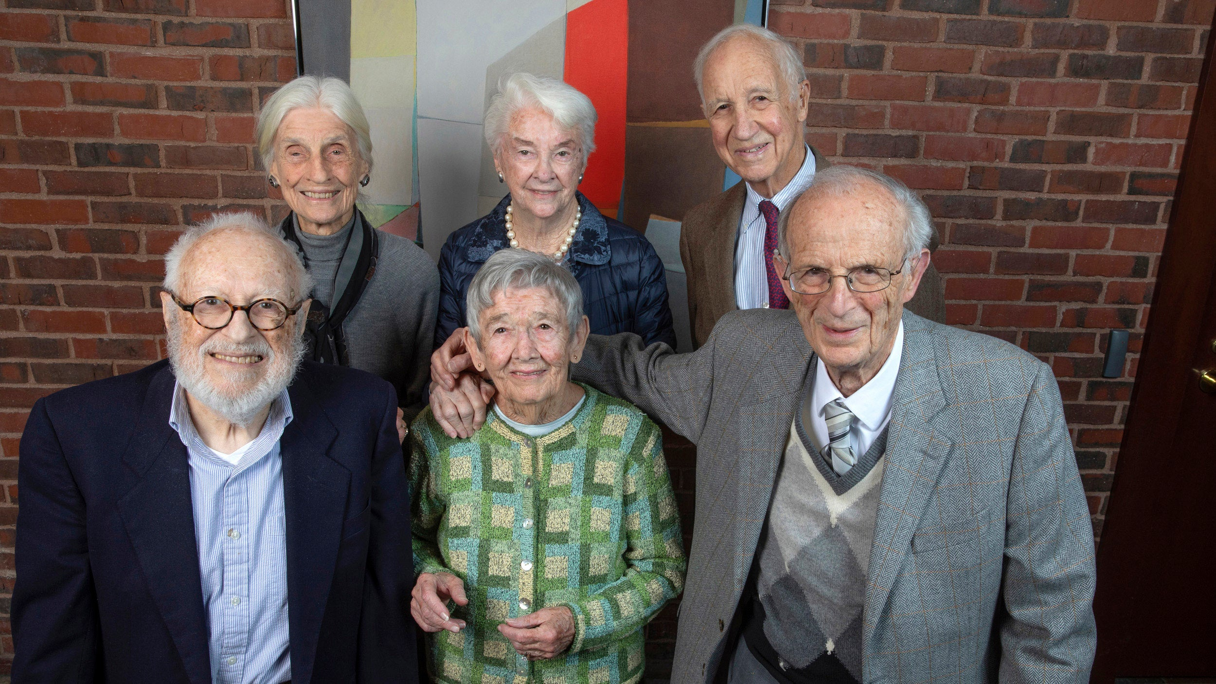 "Six members of the Class of 1948 pose for a group photo. Front row (from left): Steven Stadler, Natalie Basso Ryan, Ray Goldberg. Back row: Sayre Phillips Sheldon, Eleanor ""Buster"" Foley Glimp, and Henry Lee."