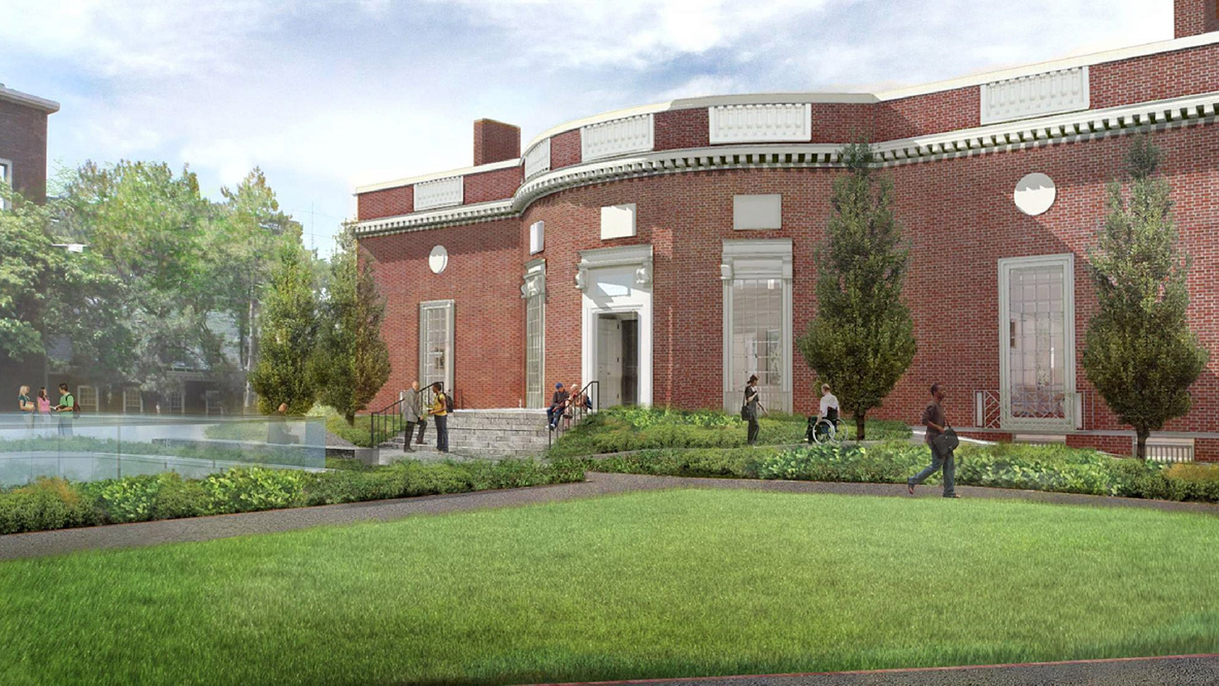 Rendering of Houghton Library showing ramped entrance, landscape design.