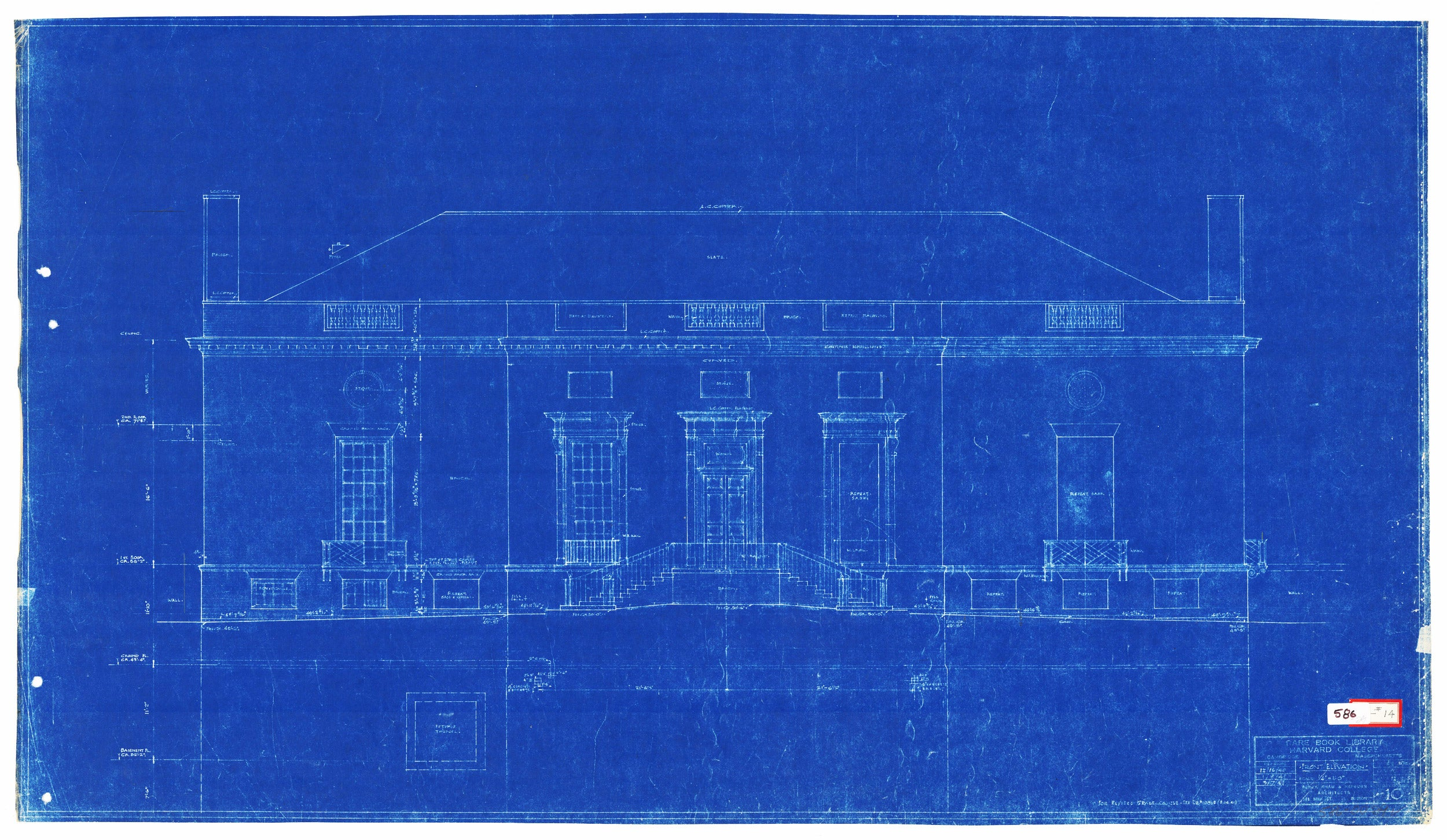 Original 1940 blueprint for Harvard's Houghton Library.