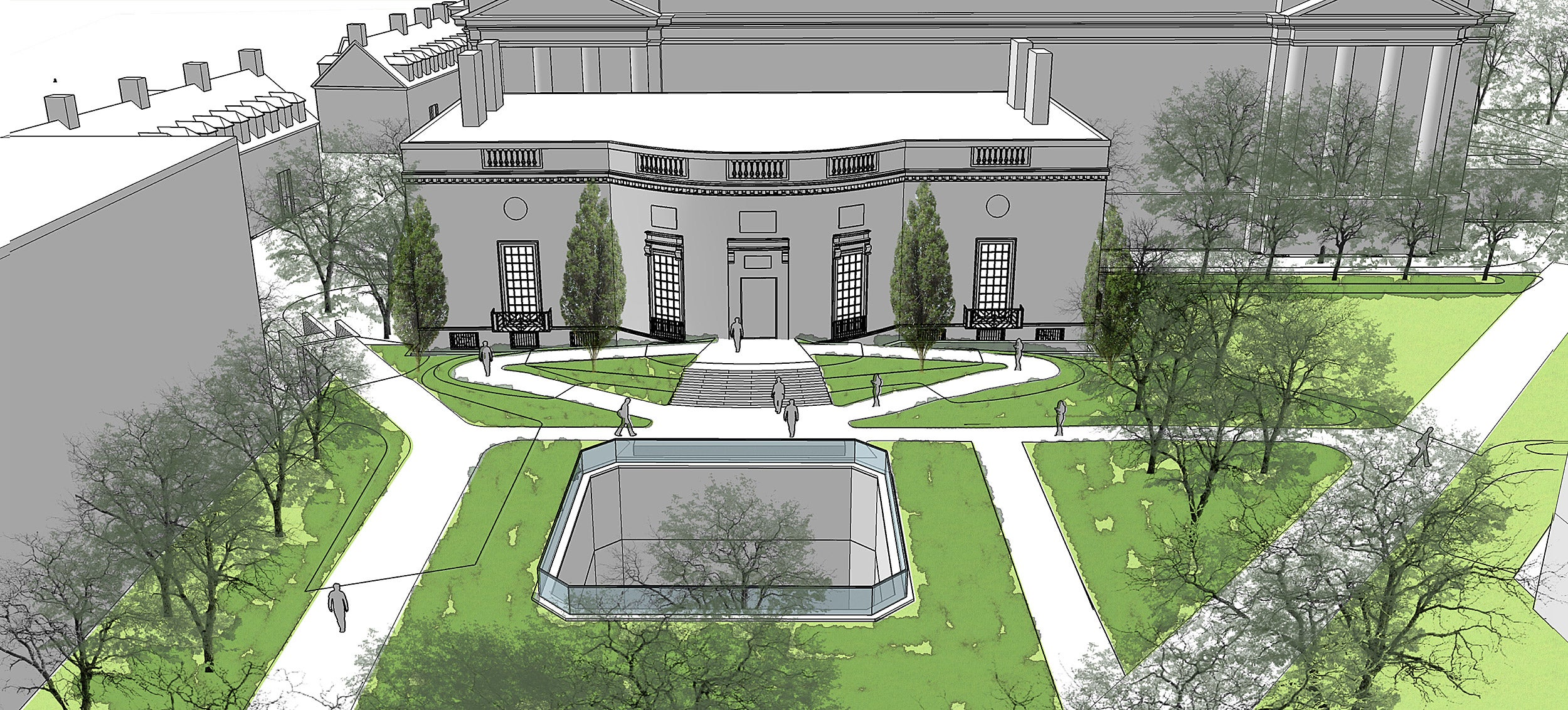Rendering of Houghton Library renovation, exterior.