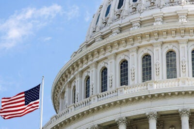 The American flag flies at the U.S. Capitol.