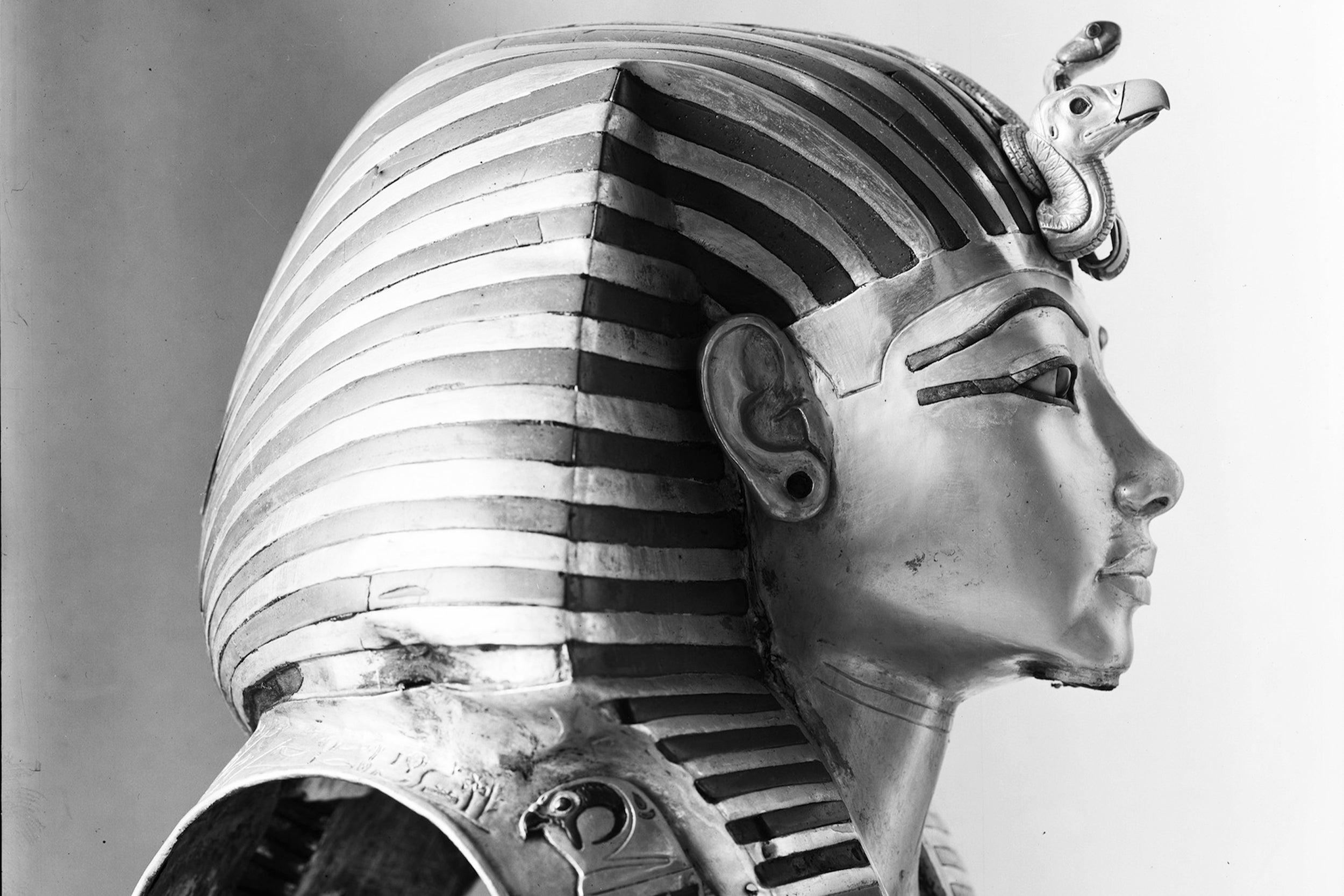 The golden death mask of Tutankhamun.