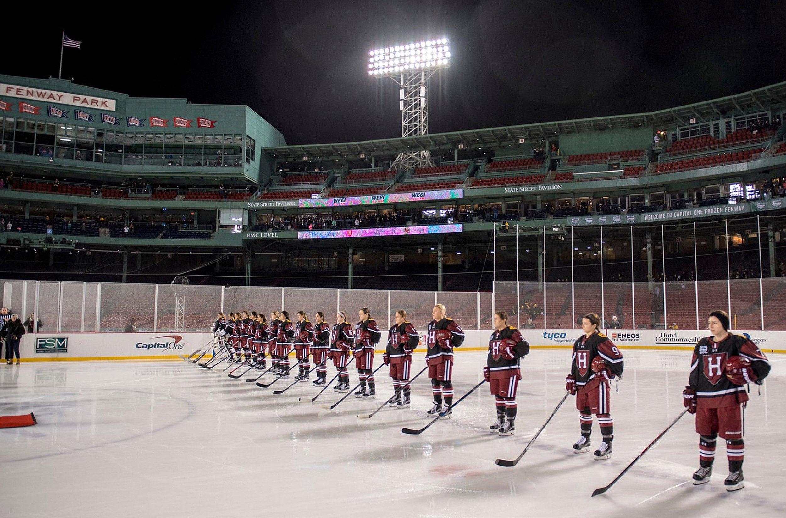 Harvard women's hockey at Fenway.