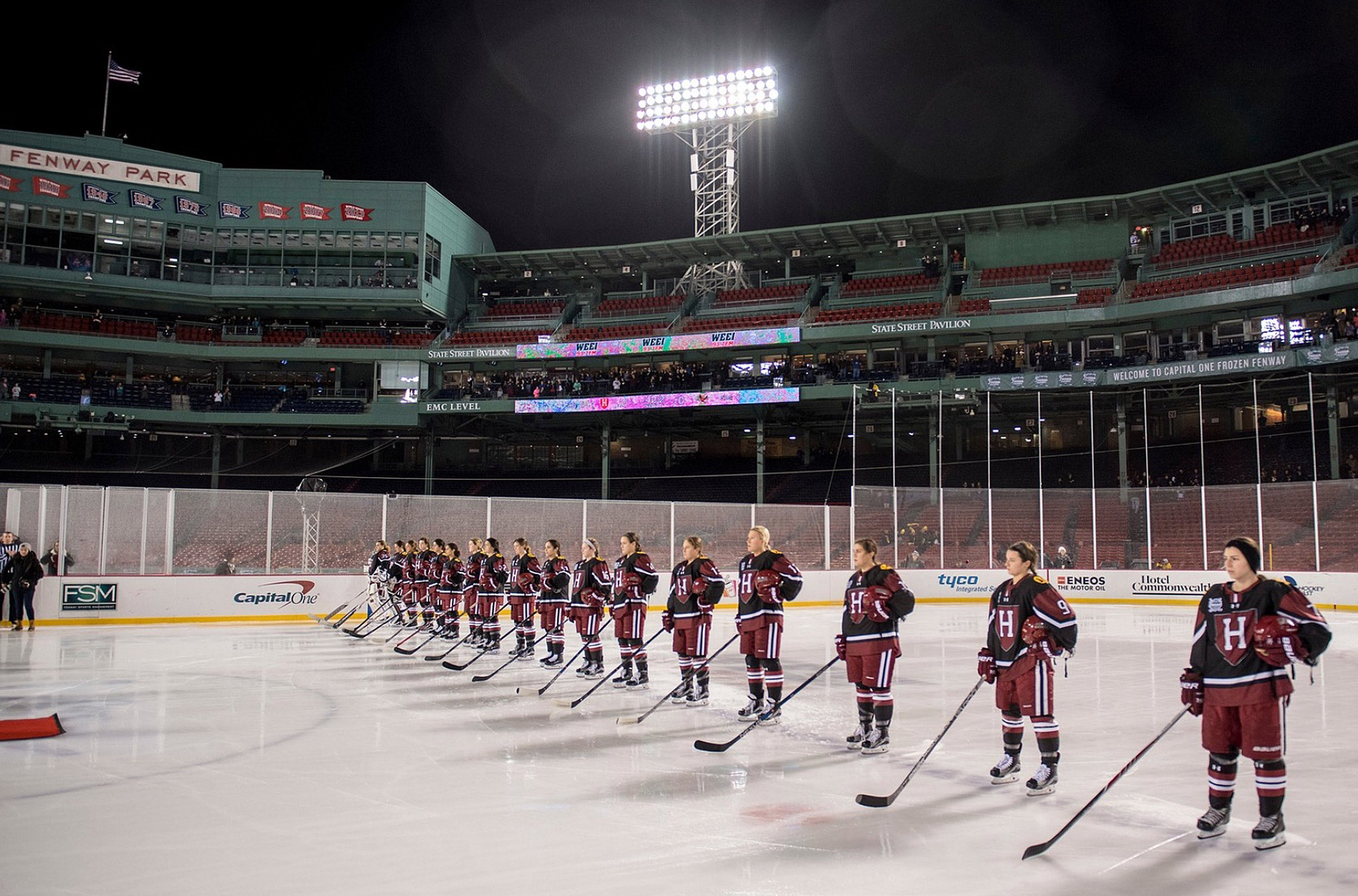 Harvard women's hockey at Fenway.