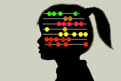 Illustration of young girl with abacus inside of head.