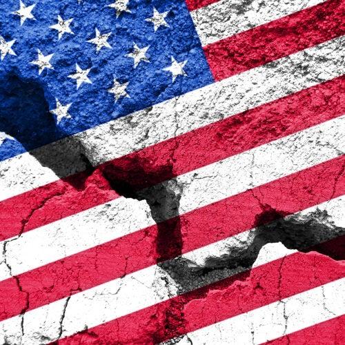 U.S. flag on cracked background.