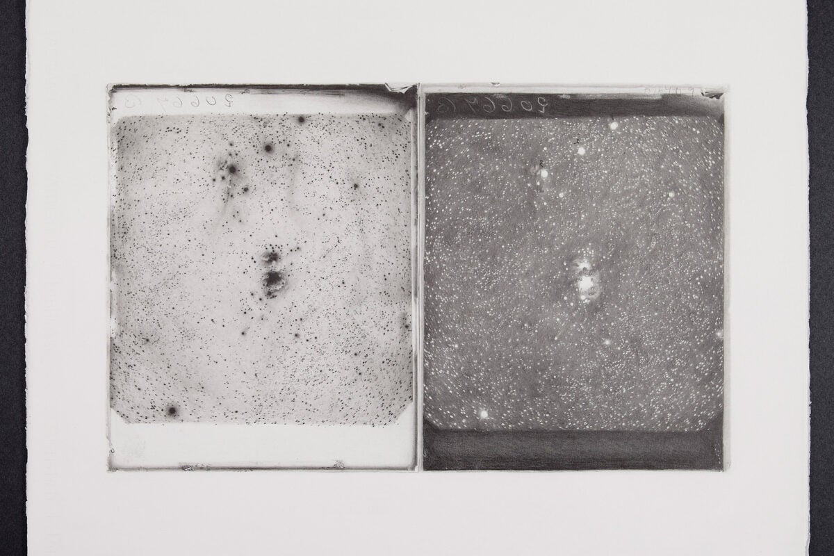 Drawing of glass plates, Nebula in Orion.