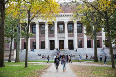 Harvard Campus with students walking