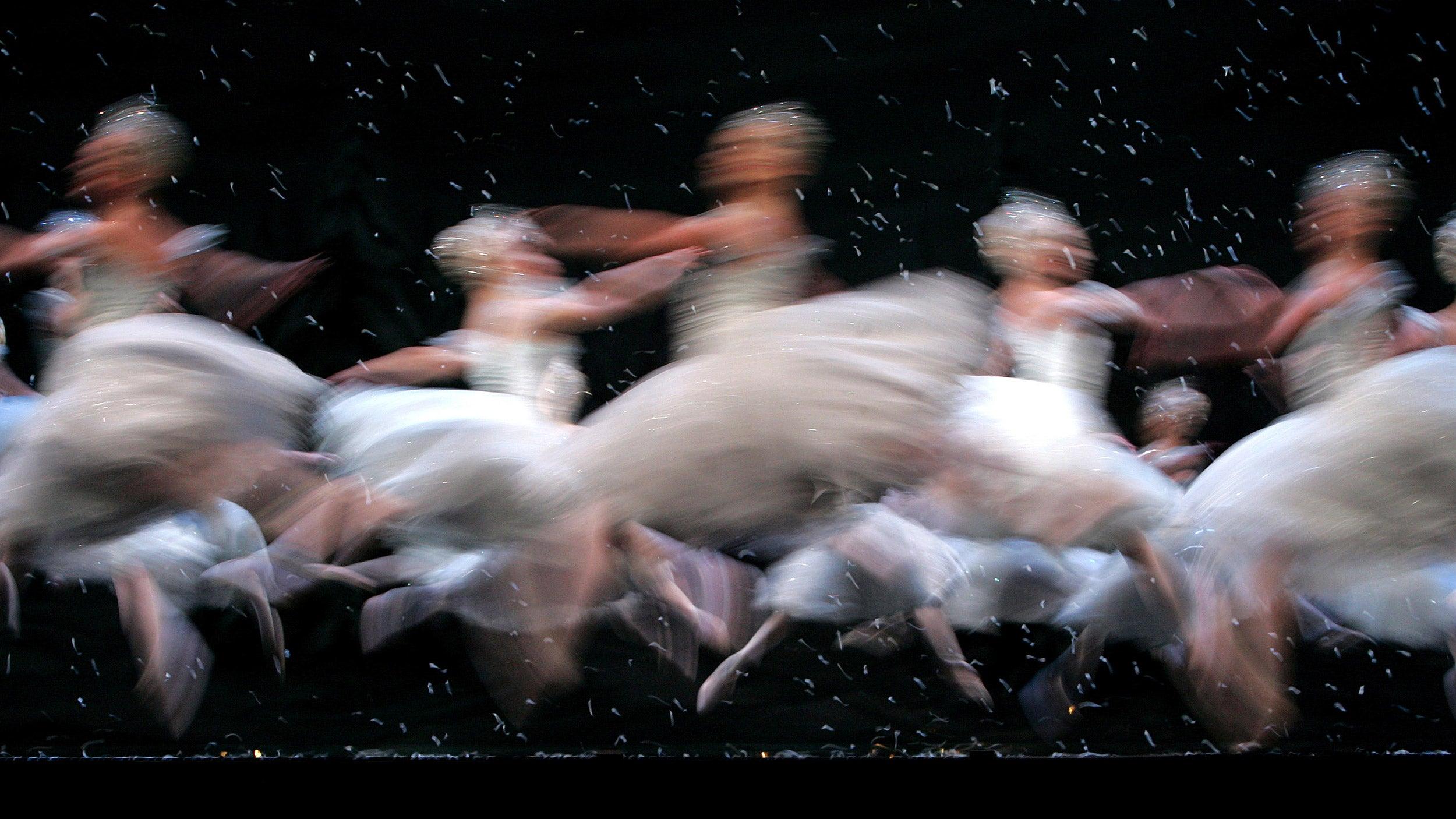 """Ballerinas dance as snowflakes in """"Nutcracker Ballet."""""""