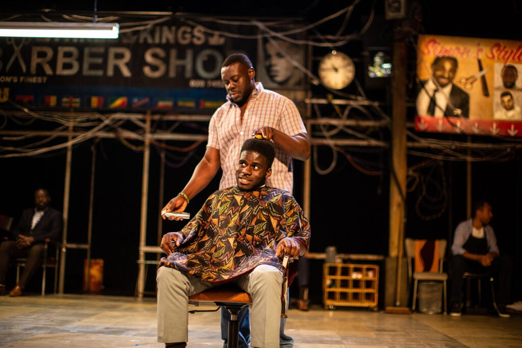 "Ekow Quartey and Kenneth Omole in ""Barber Shop Chronicles."""