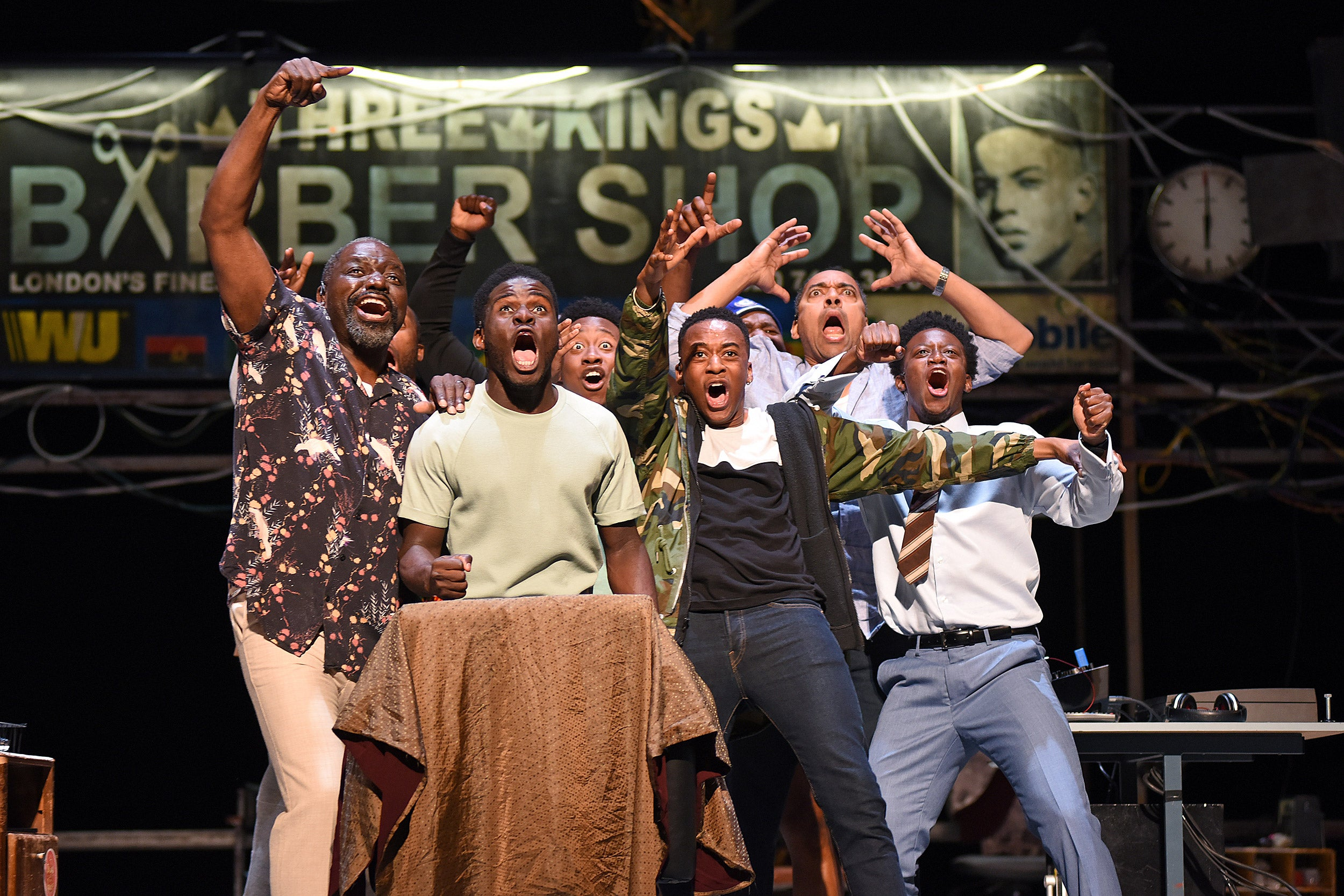 """The ensemble of """"Barber Shop Chronicles."""""""